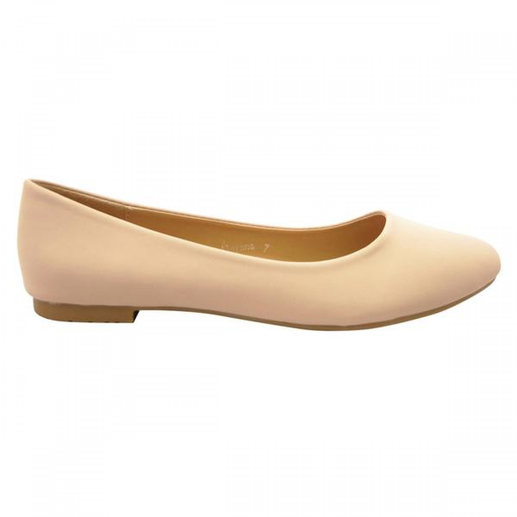 Women's Nude Alaynna Smooth Pump Flat with Gently Pointed Toe