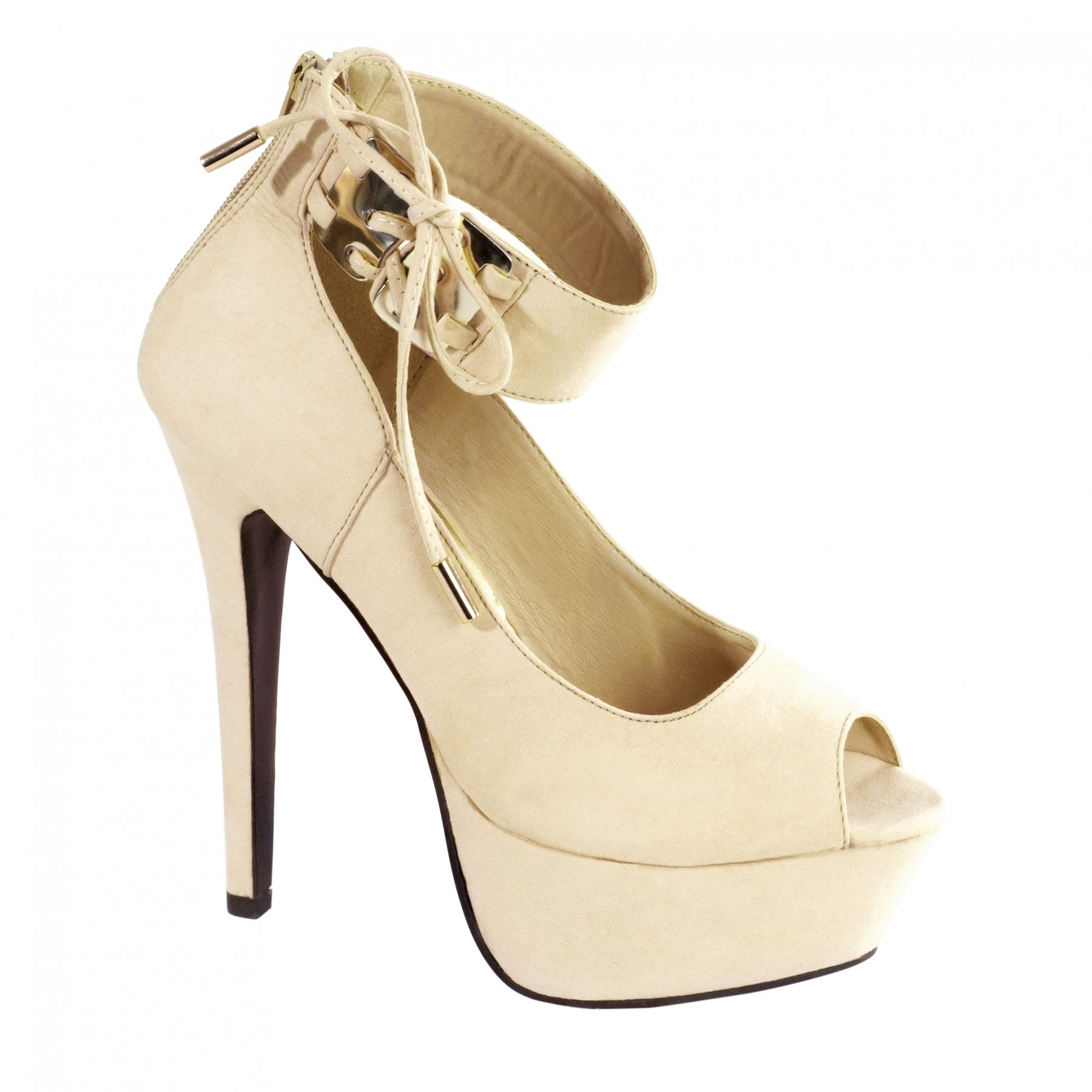 Women's Beige Arena 6-inch Platform Pump with Shining Gold-Tone Plate