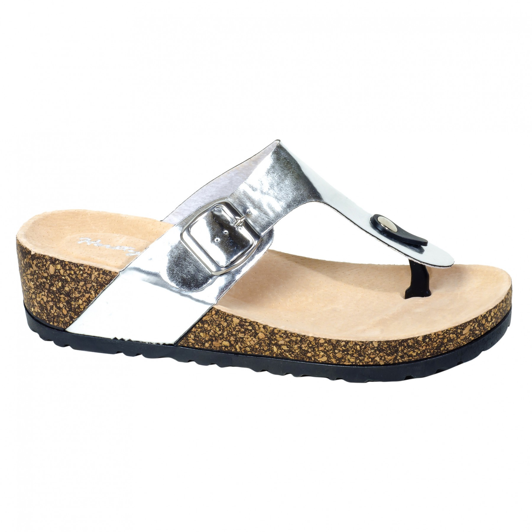 Women's Silver Manmade Caiman Low Wedge Thong with Buckled Metallic Strap