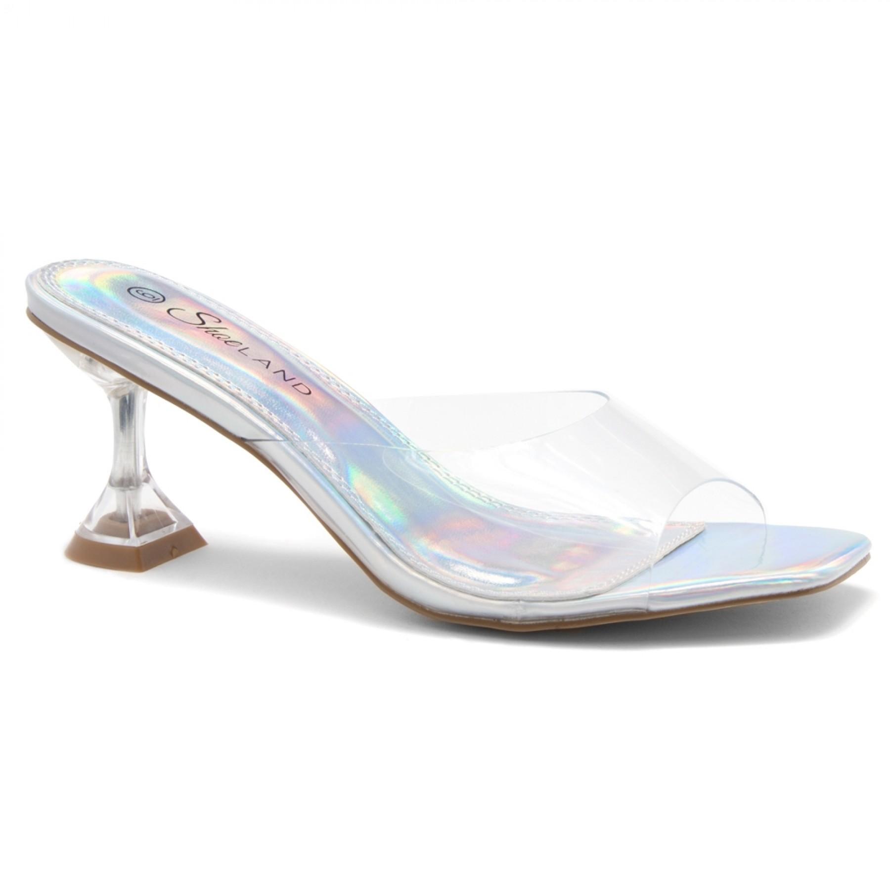 Shoe Land CELEBRATE Women's Clear Peep Toe Slip-on Block Heels Sandals(ClearSilver)