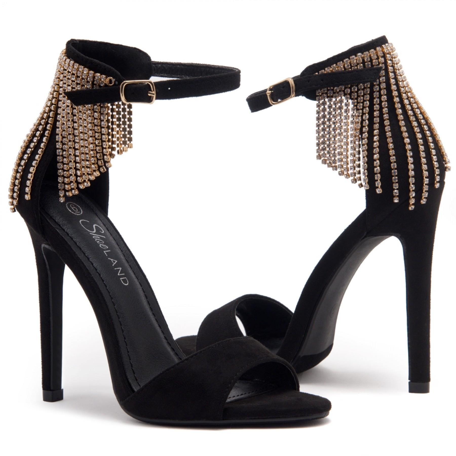 Shoe Land Charming- Rhinestone Tassel Ankle Strap Open Toe Stiletto Heel (1836/BLK)