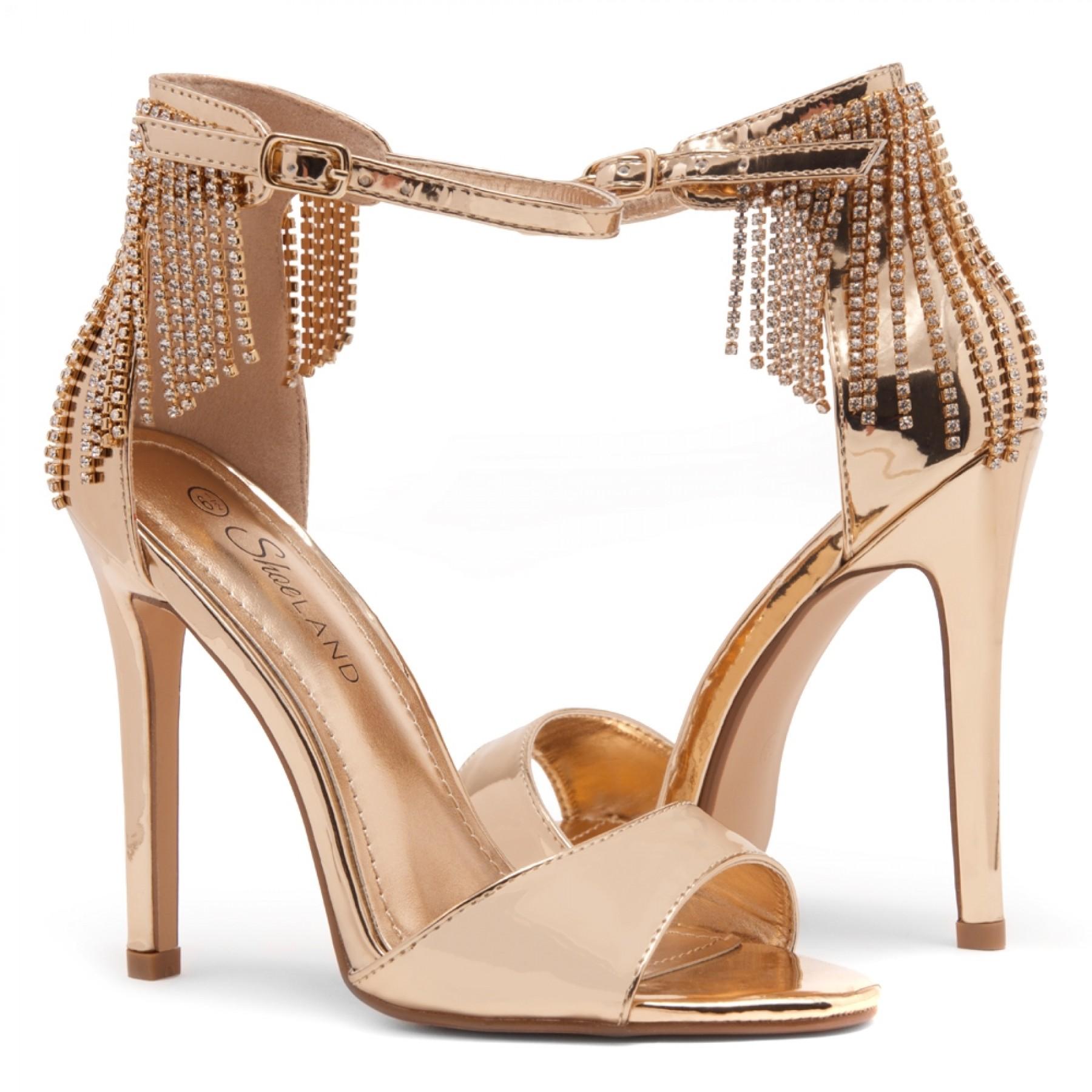 Shoe Land Charming- Rhinestone Tassel Ankle Strap Open Toe Stiletto Heel (1836/R.GLD)