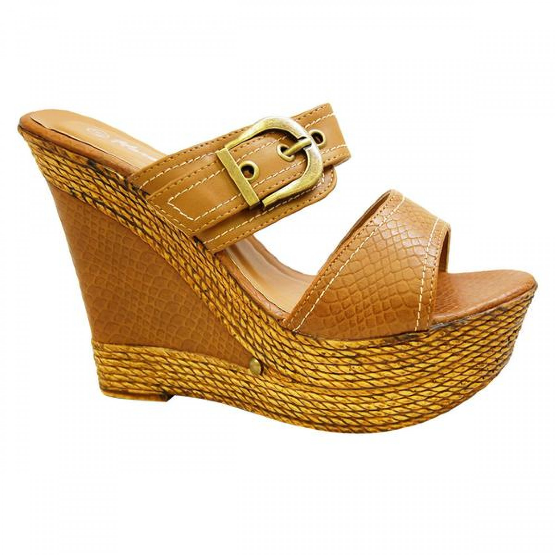 Women's Cognac Manmade Dovveerr 5-inch Wedge Sandal with Faux Snakescale Pattern