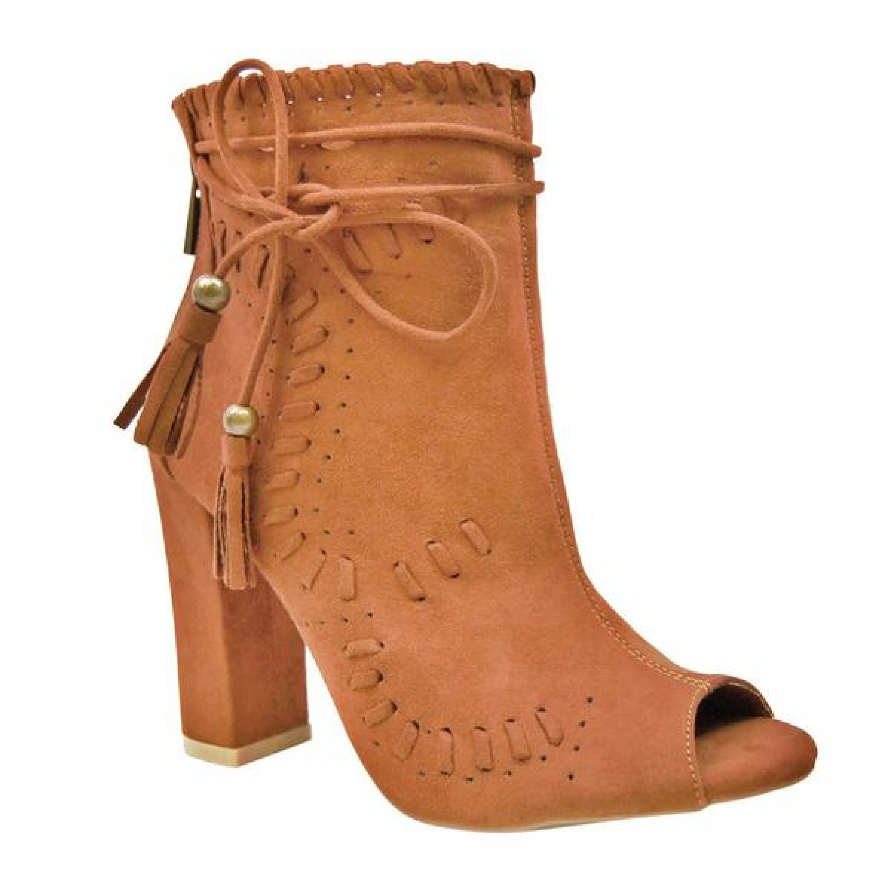Women's Chestnut Tassel Heel Booties ENCOUNTER