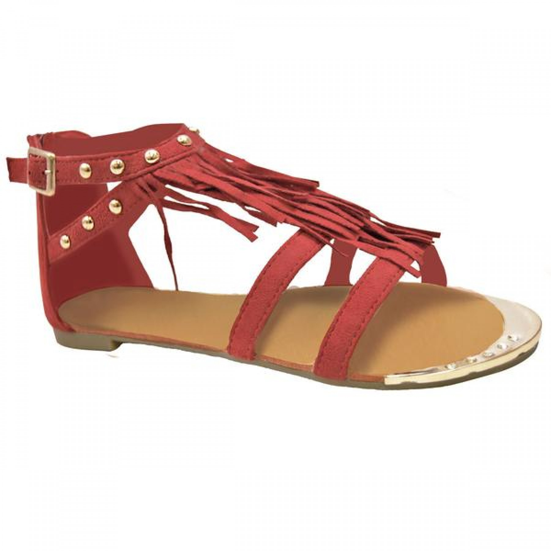 Women's Red Fenellaa Fringed Gladiator Sandal with Accent Studs