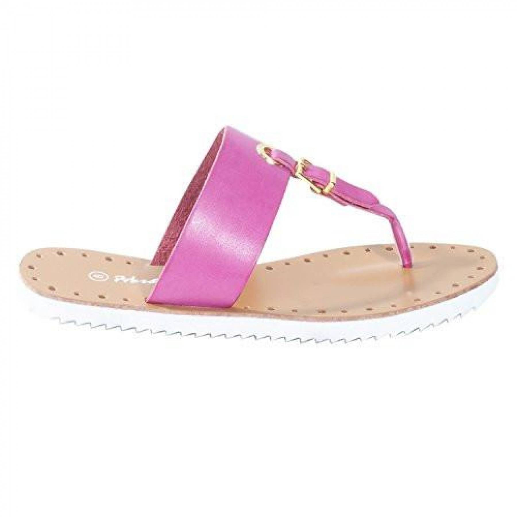 Women's Fuchsia Manmade Fizzing T-Strap Sandal with Bright Buckle Accent