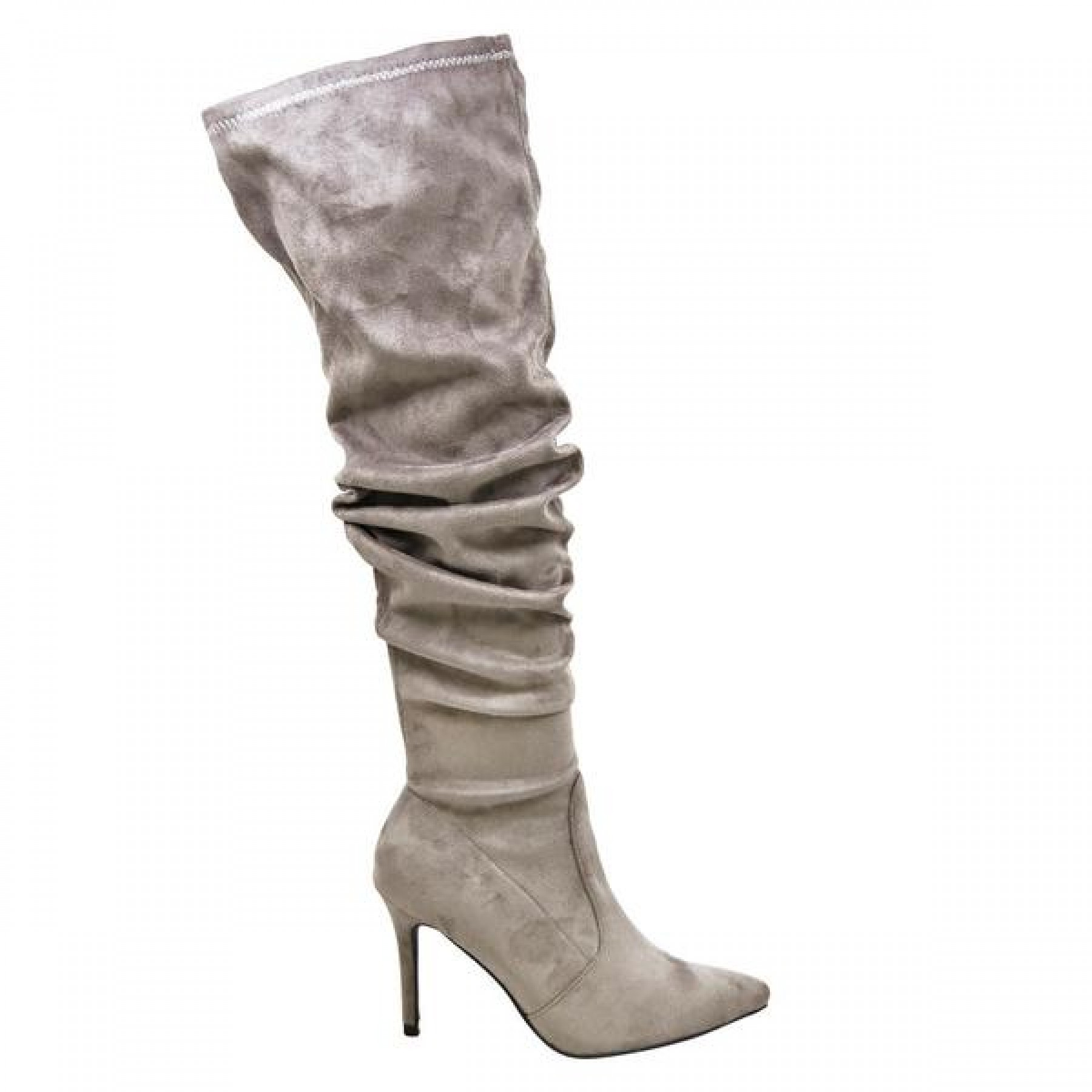 Women's Grey Thigh High Stretchy Suede Material Pointy Toe ...