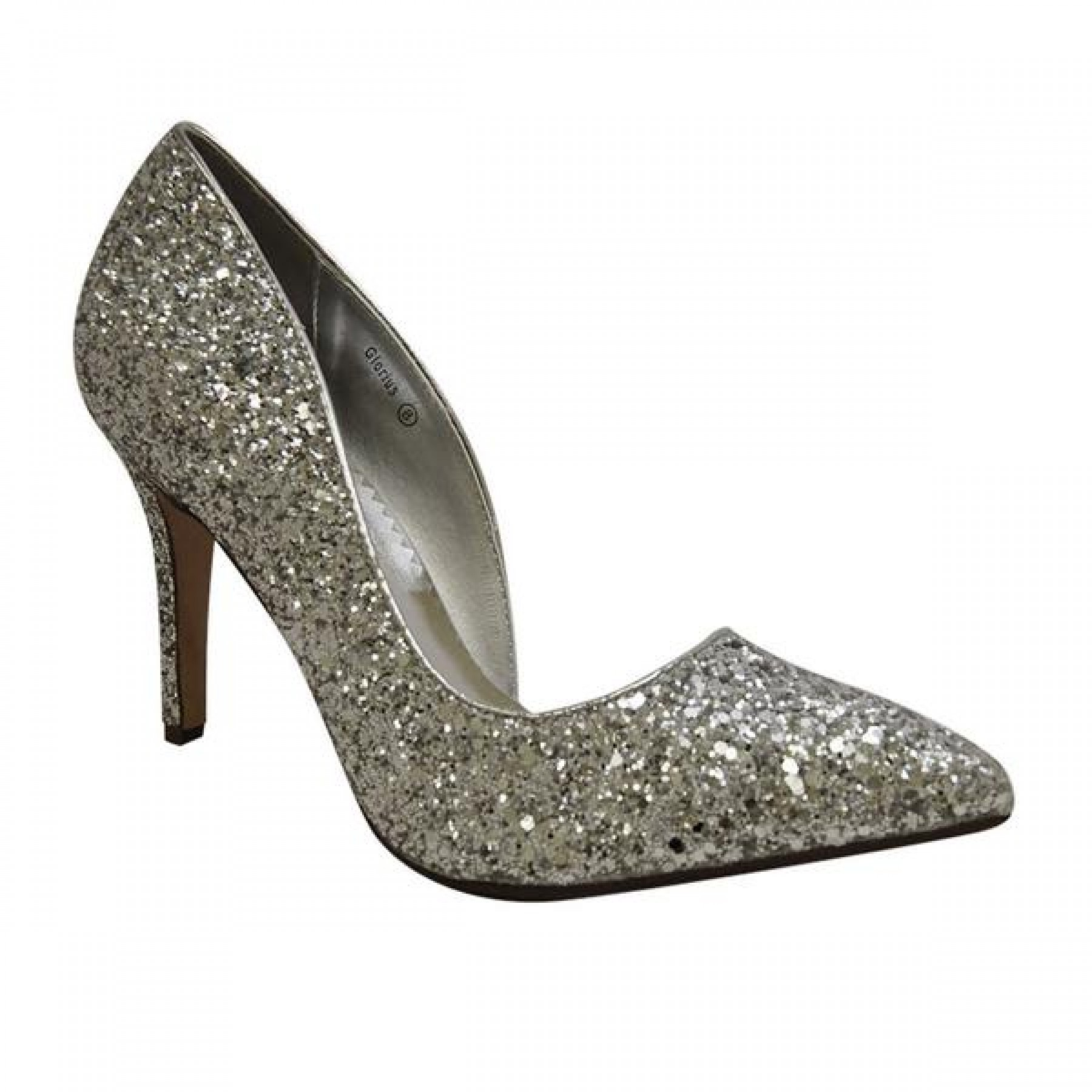 Women's Silver Manmade Glorius Pointed-Tee Pump with Glittering Upper