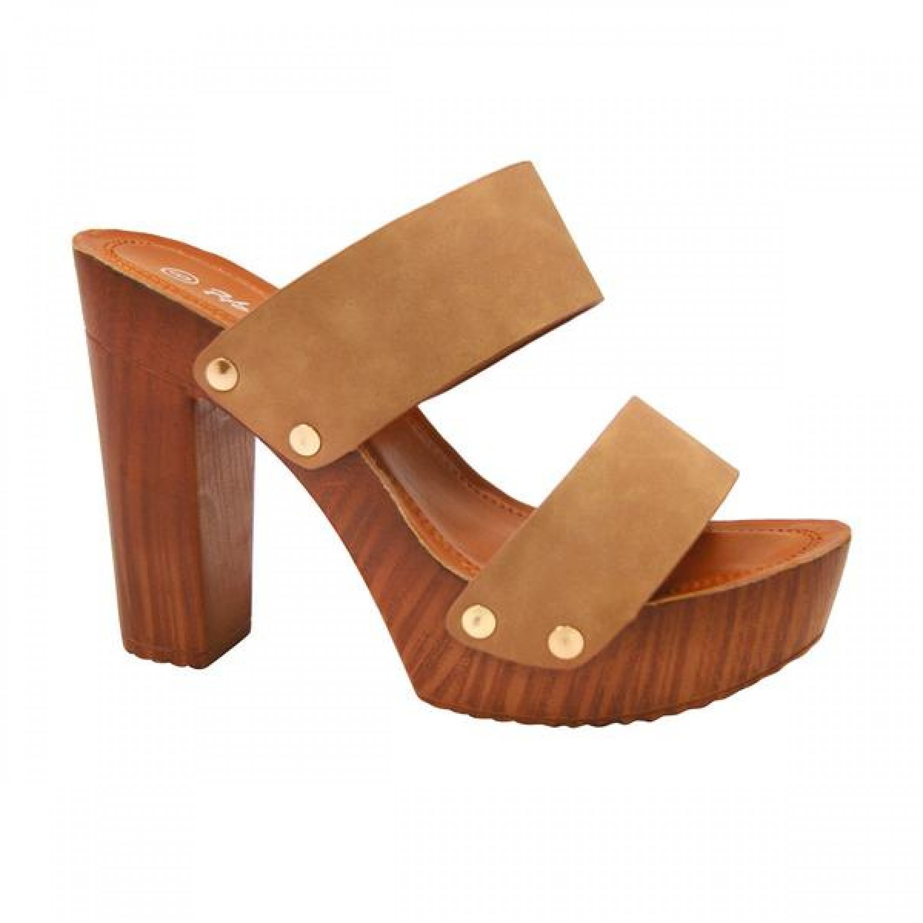 Women's Tan Manmade Klaaree 4-inch Faux Wood Sandal with Gold-Tone Studs