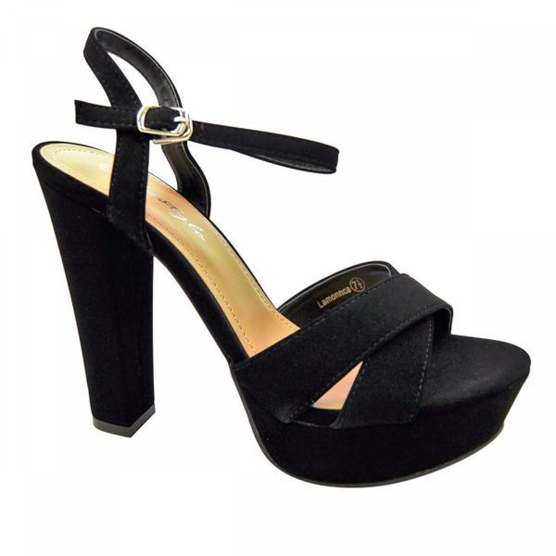 Women's Black Manmade Lamonnca 4-inch Heeled Sandal with Sueded Sides