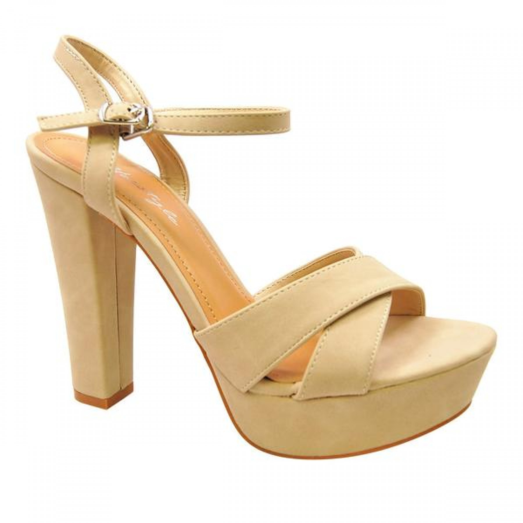 Women's Nude Manmade Lamonnca 4-inch Heeled Sandal with Sueded Sides