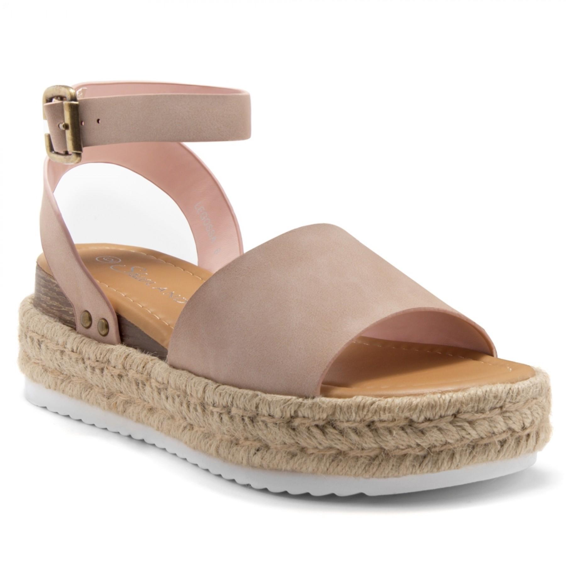 Shoe Land Legossa-Women's Open Toe Ankle Strap Platform Wedge Shoes Casual Espadrilles Trim Flatform Studded Wedge Sandals (1825/Mauve)