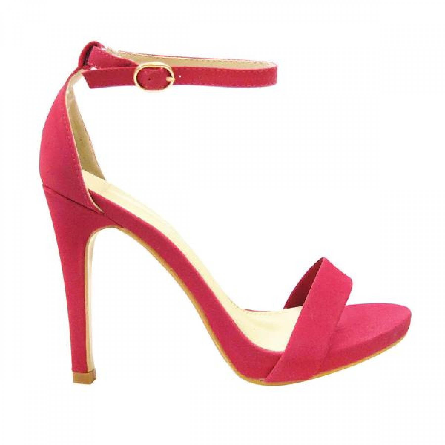 Women's Fuchsia Manmade Livveey 4-inch Heeled Sandal with Glowing Ankle Buckle