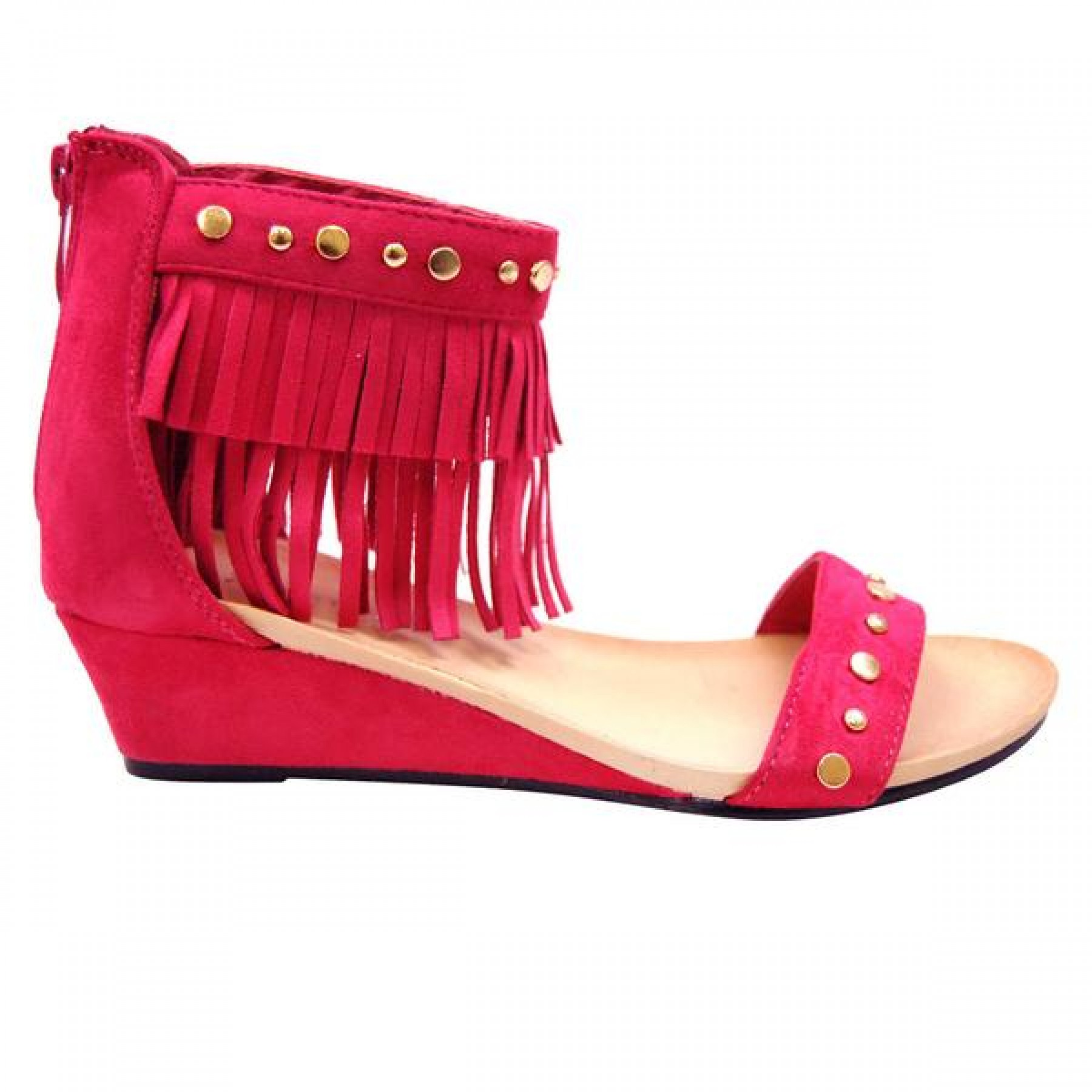 Women's Fuchsia Manmade Mariness 2-inch Wedge Sandal with Gold-Tone Studs