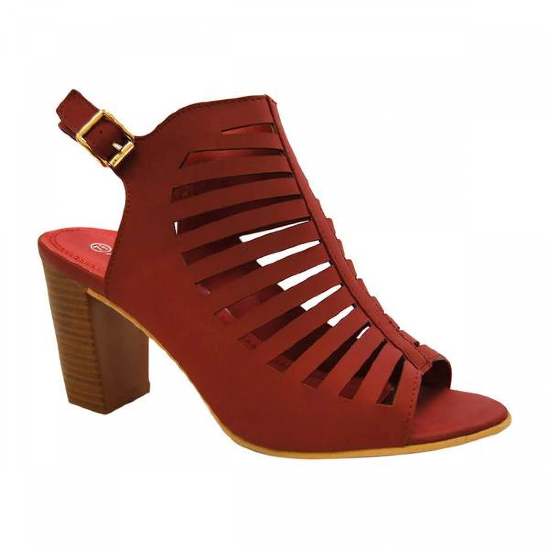 Women's Burgundy Manmade Marinner Stack Heel Sandal with Gladiator-Style Vamp