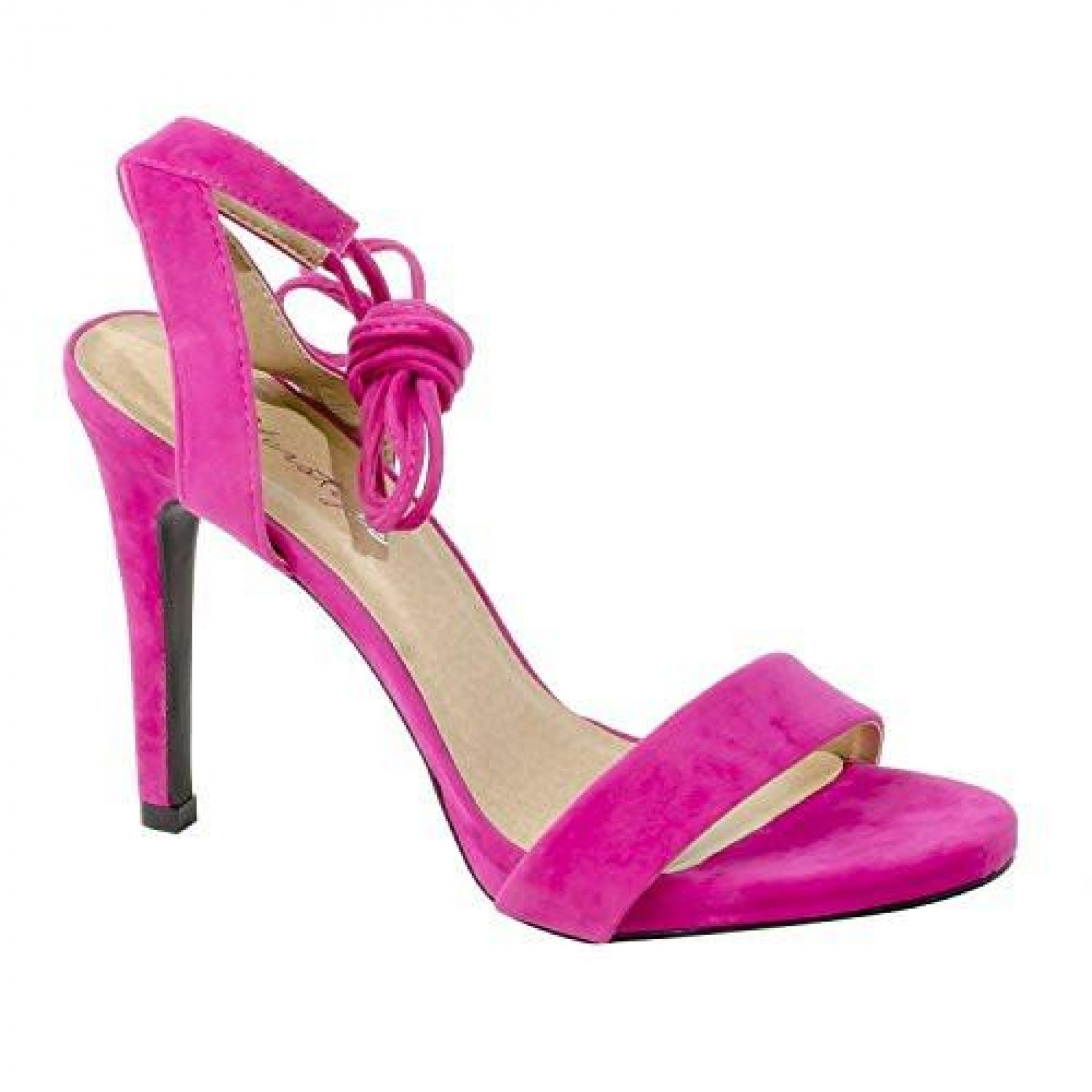 Women's Fuchsia Manmade Marritta Sueded 4.5-inch Lace-up Sandal