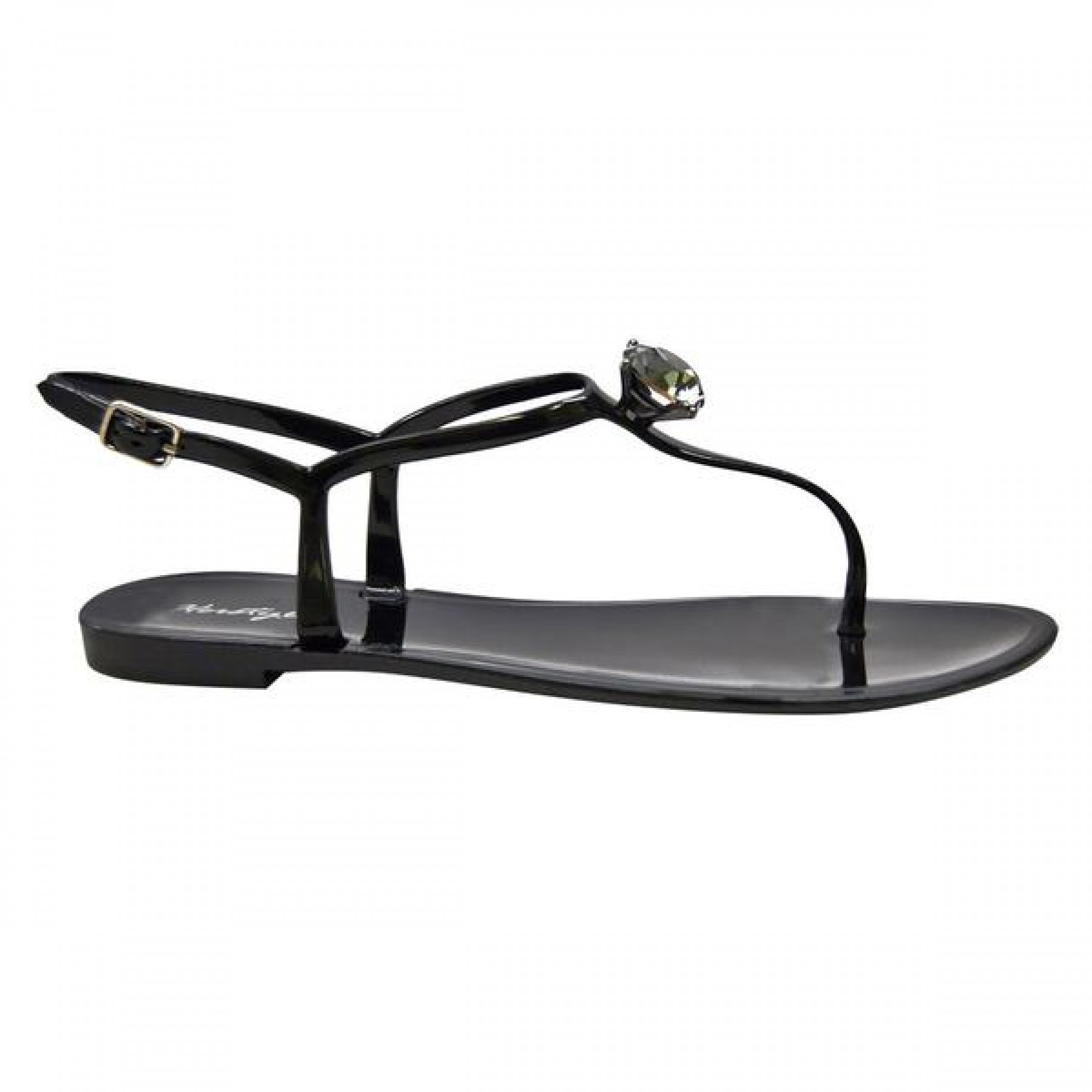 Women's Black Minorca Jelly Sandal with Elegant Crystal Accent