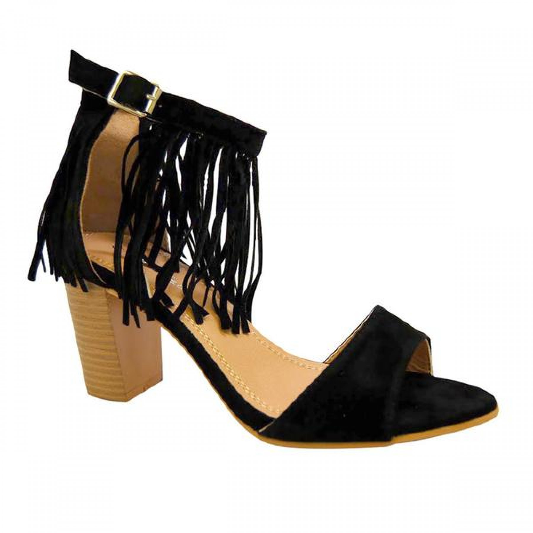 Women's Black Manmade Miranni Sueded Stacked Heel Sandal with Fringed Ankle