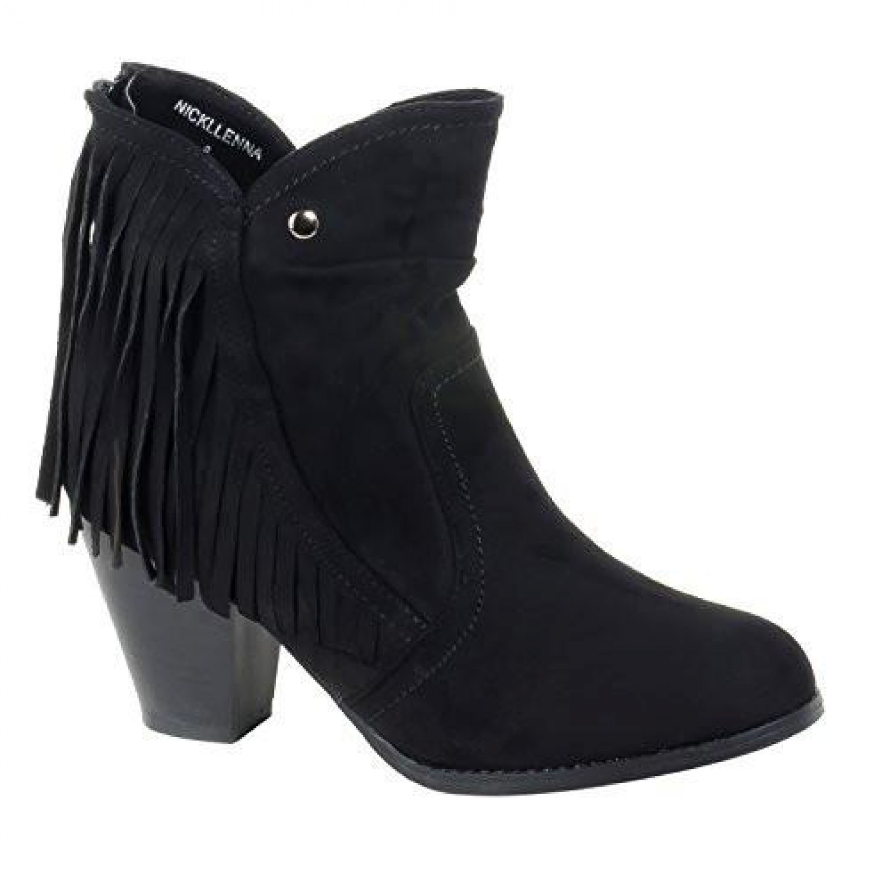 Women's Black Manmade Nickllenna 3-inch Heeled Boot with Western-Style Fringe