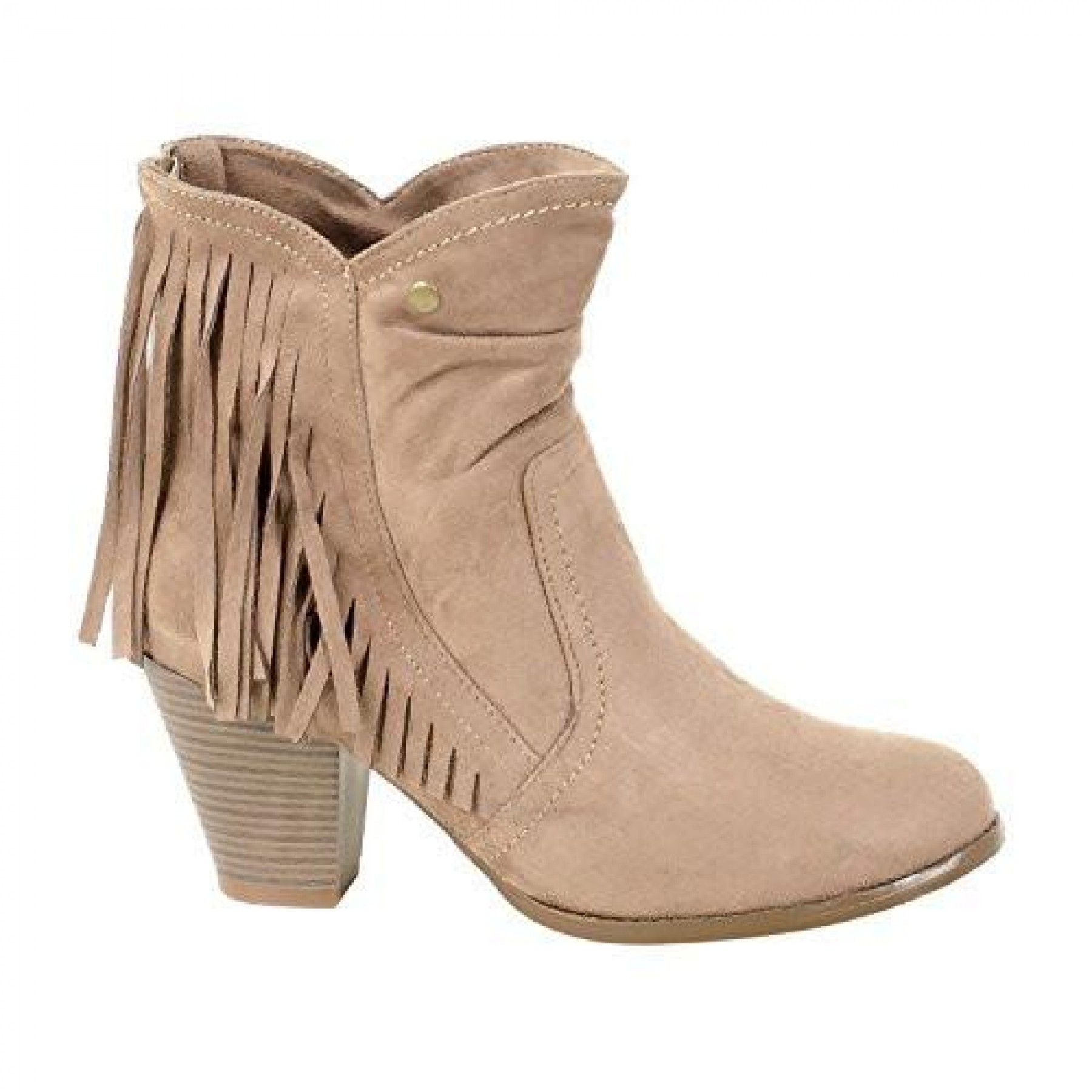 Women's Khaki Manmade Nickllenna 3-inch Heeled Boot with Western-Style Fringe