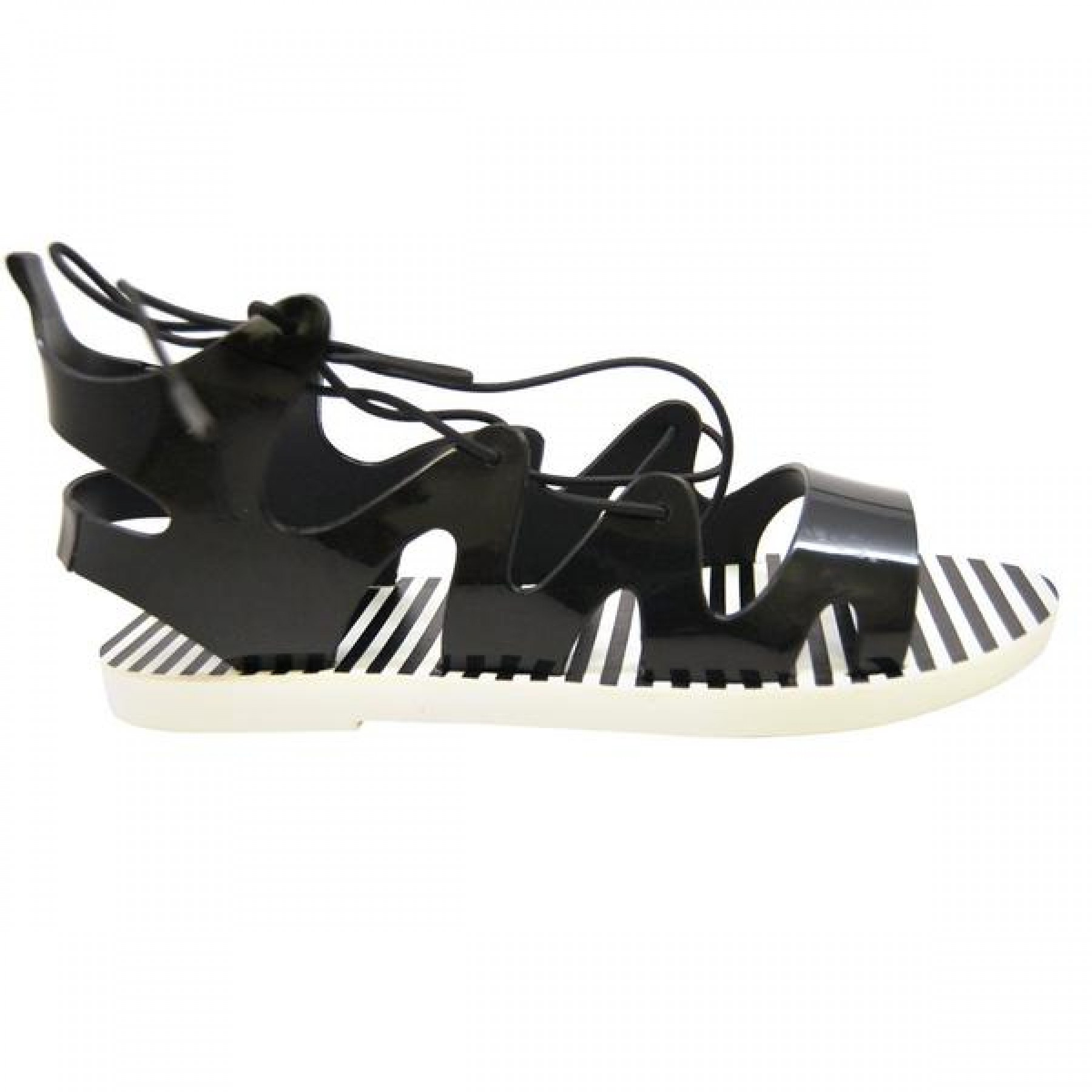 Women's Black Manmade Nihoa Jelly Sandal with Lace-up Gladiator Vamp