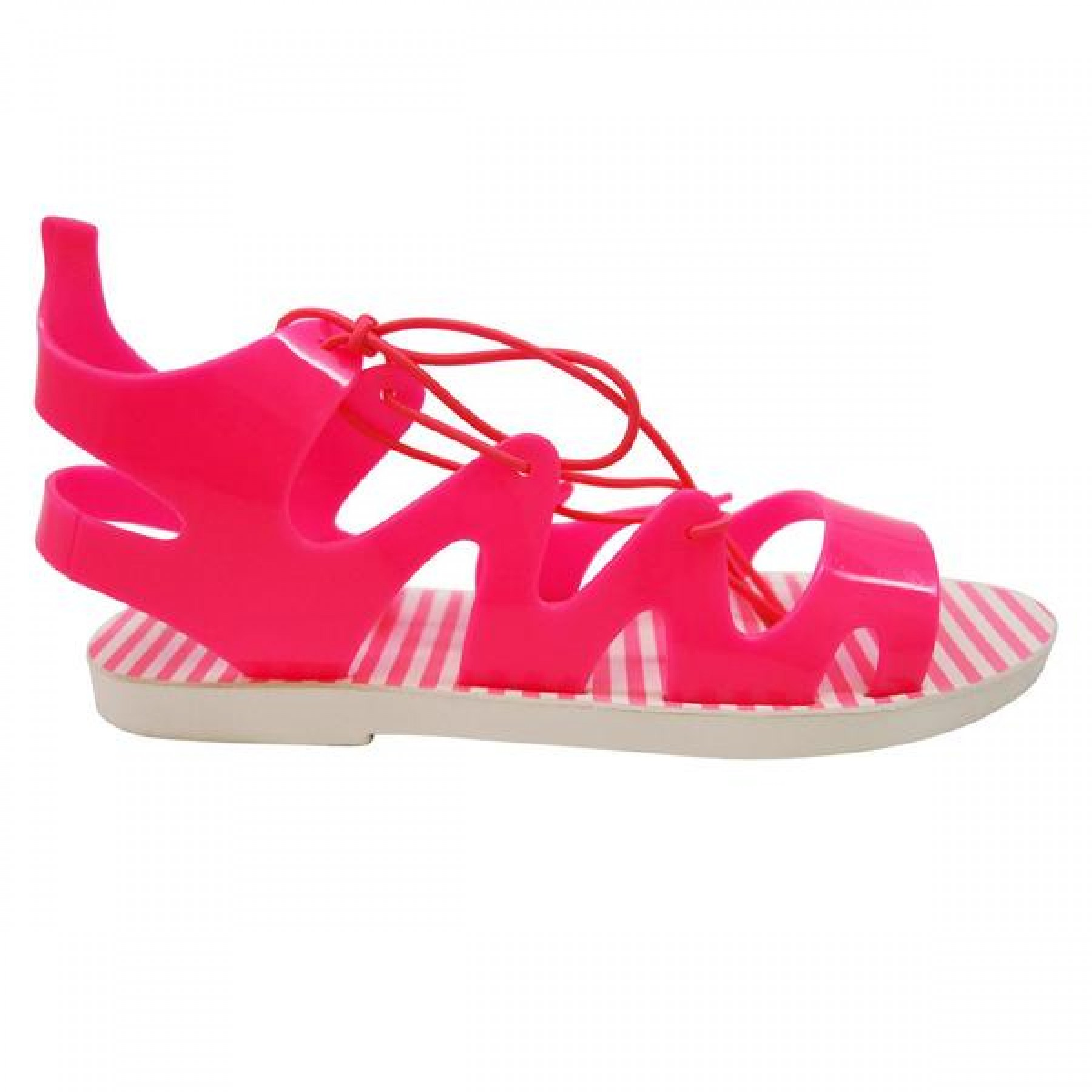 Women's Fuchsia Manmade Nihoa Jelly Sandal with Lace-up Gladiator Vamp