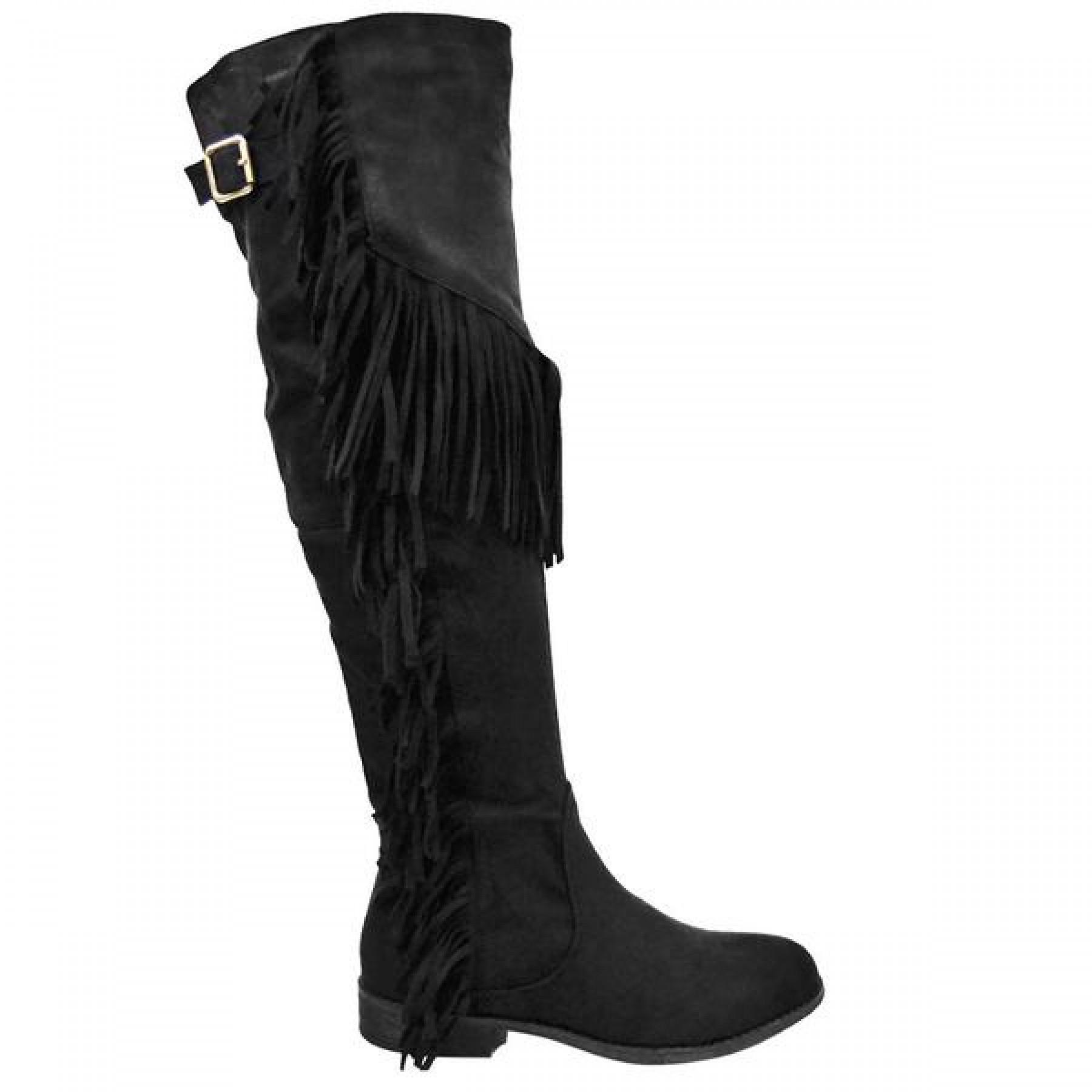 Women's Black Oksana-65 Knee-High Boot with Fringed Sides