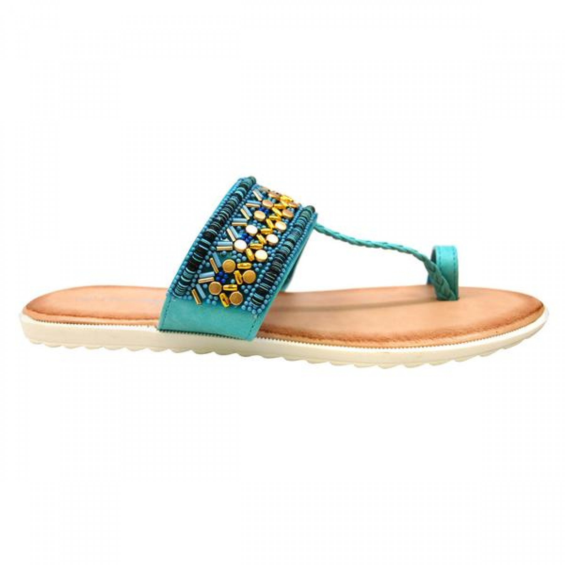 Women's Blue Manmade Roebella Toe Ring Sandal with Gorgeous Beaded Strap