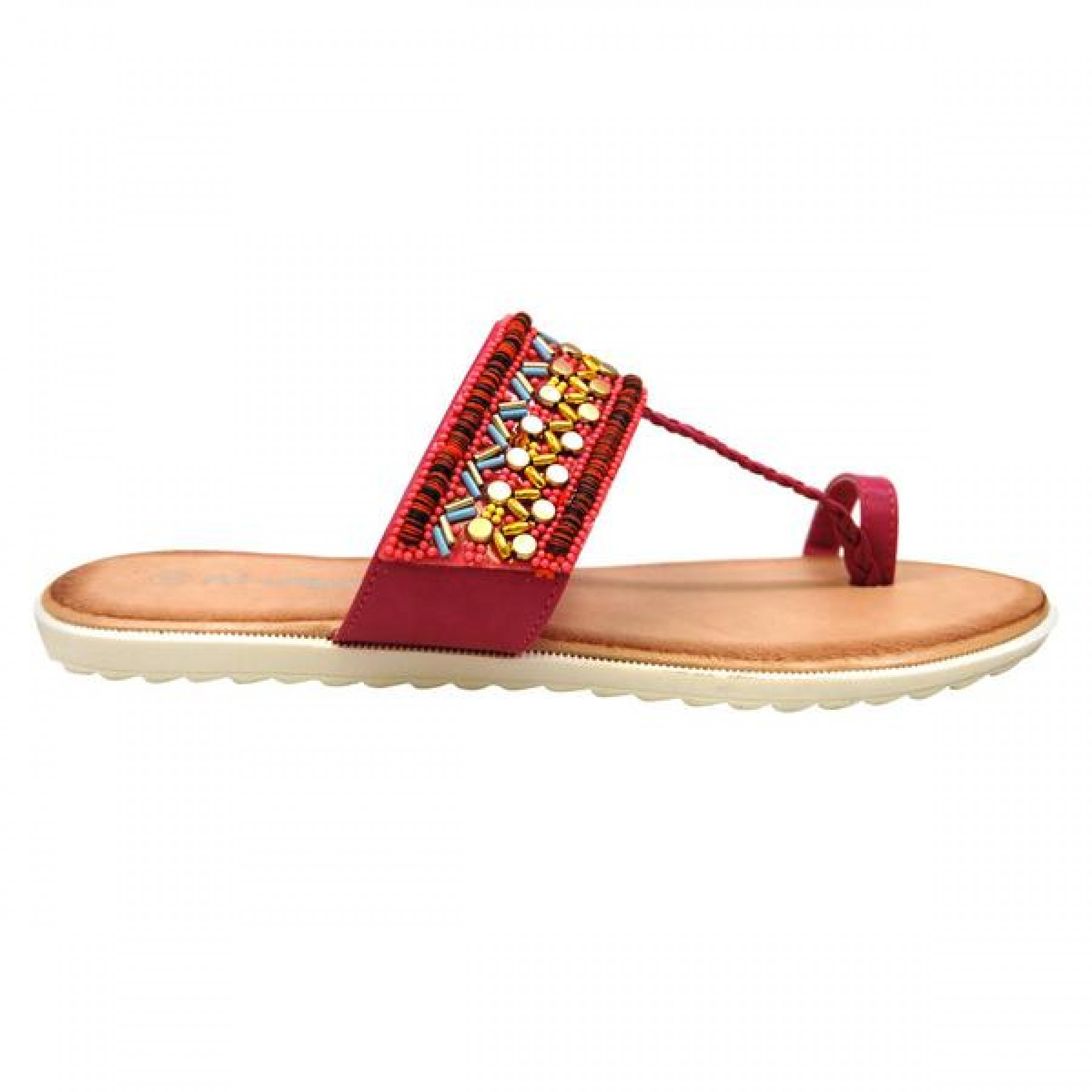 Women's Fuchsia Manmade Roebella Toe Ring Sandal with Gorgeous Beaded Strap