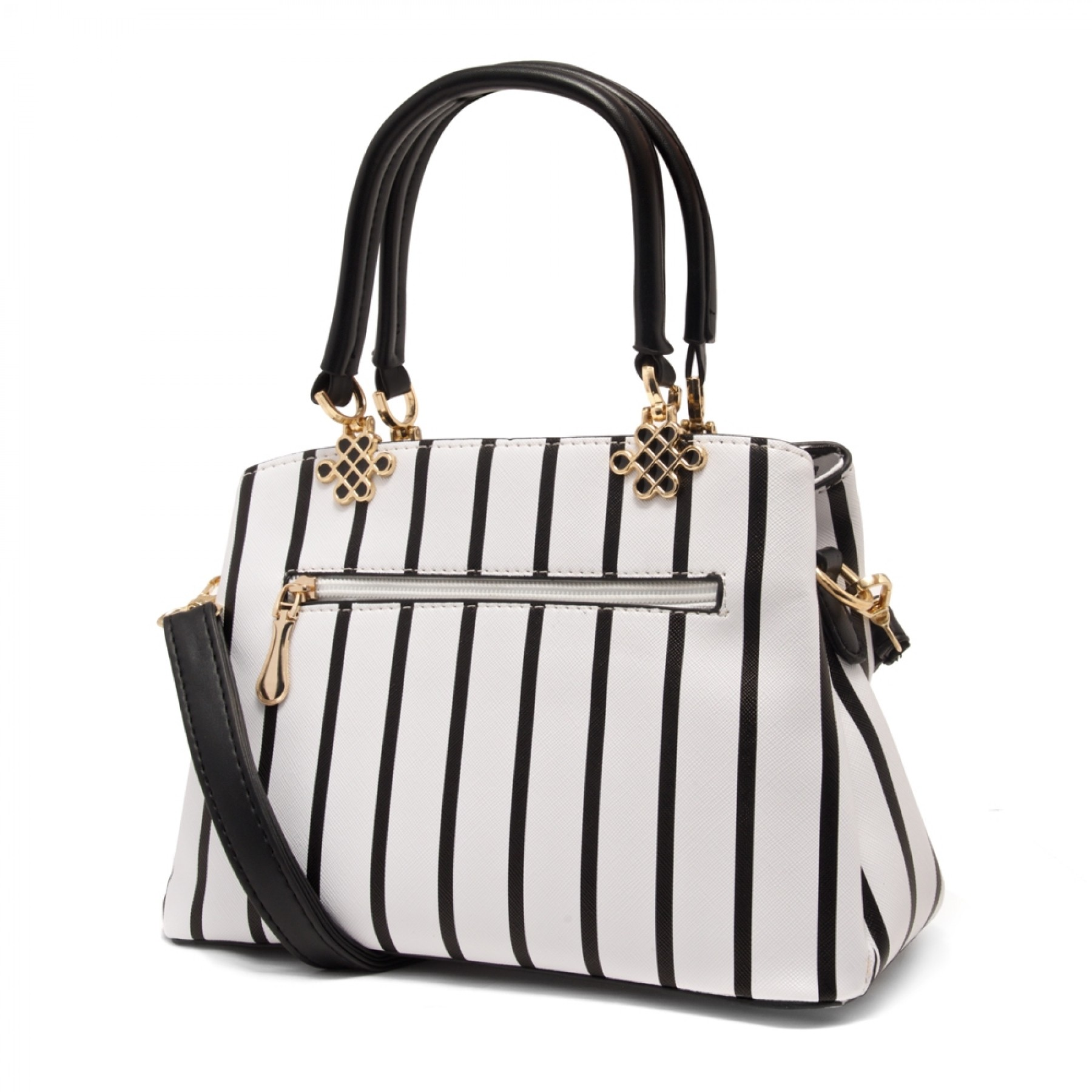 SLD-BELICIA- Minimalist Lines Pattern Casual Tote Bag (White)