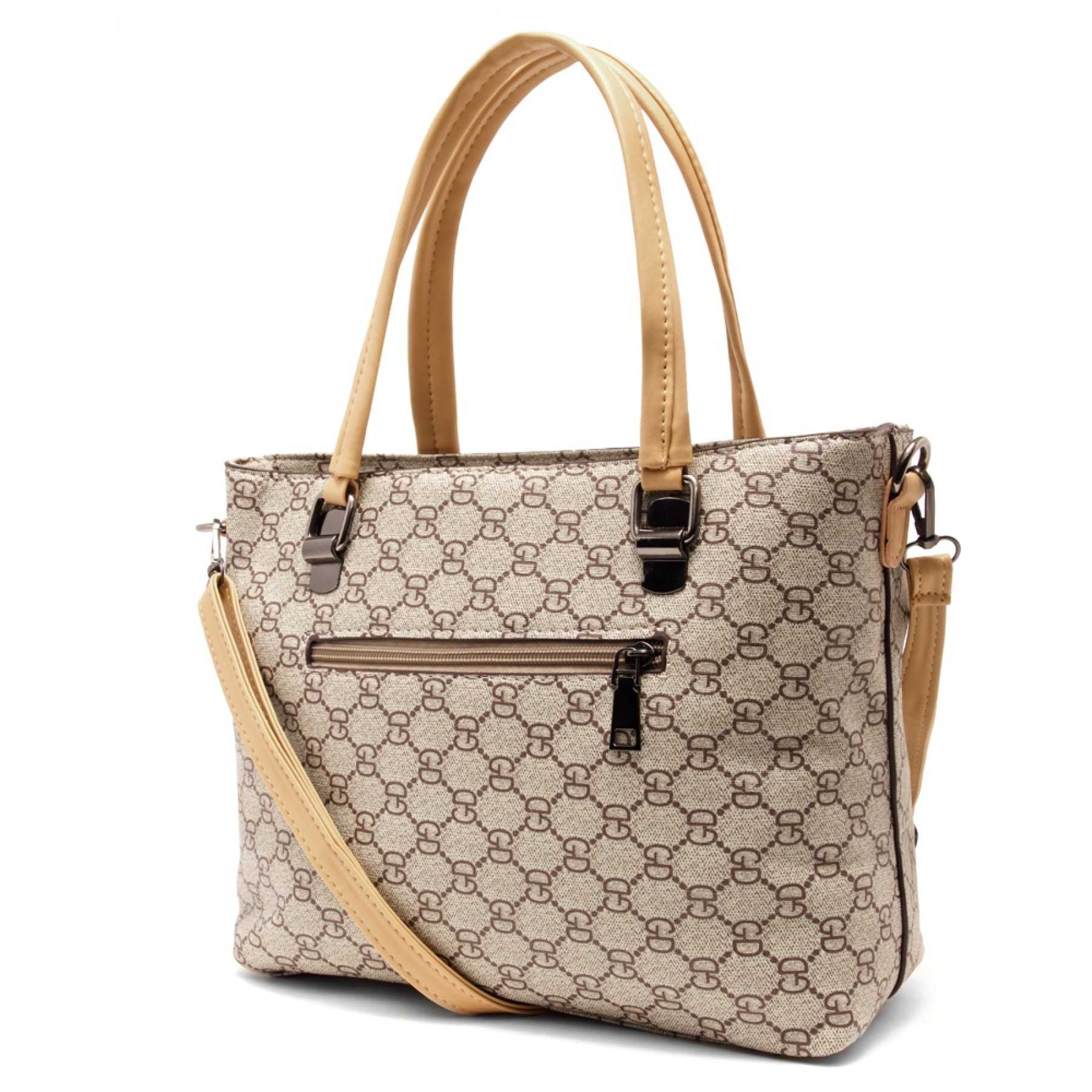 SLD-BELLE- Roomy Tonal Pattern Casual Tote Bag (Beige)