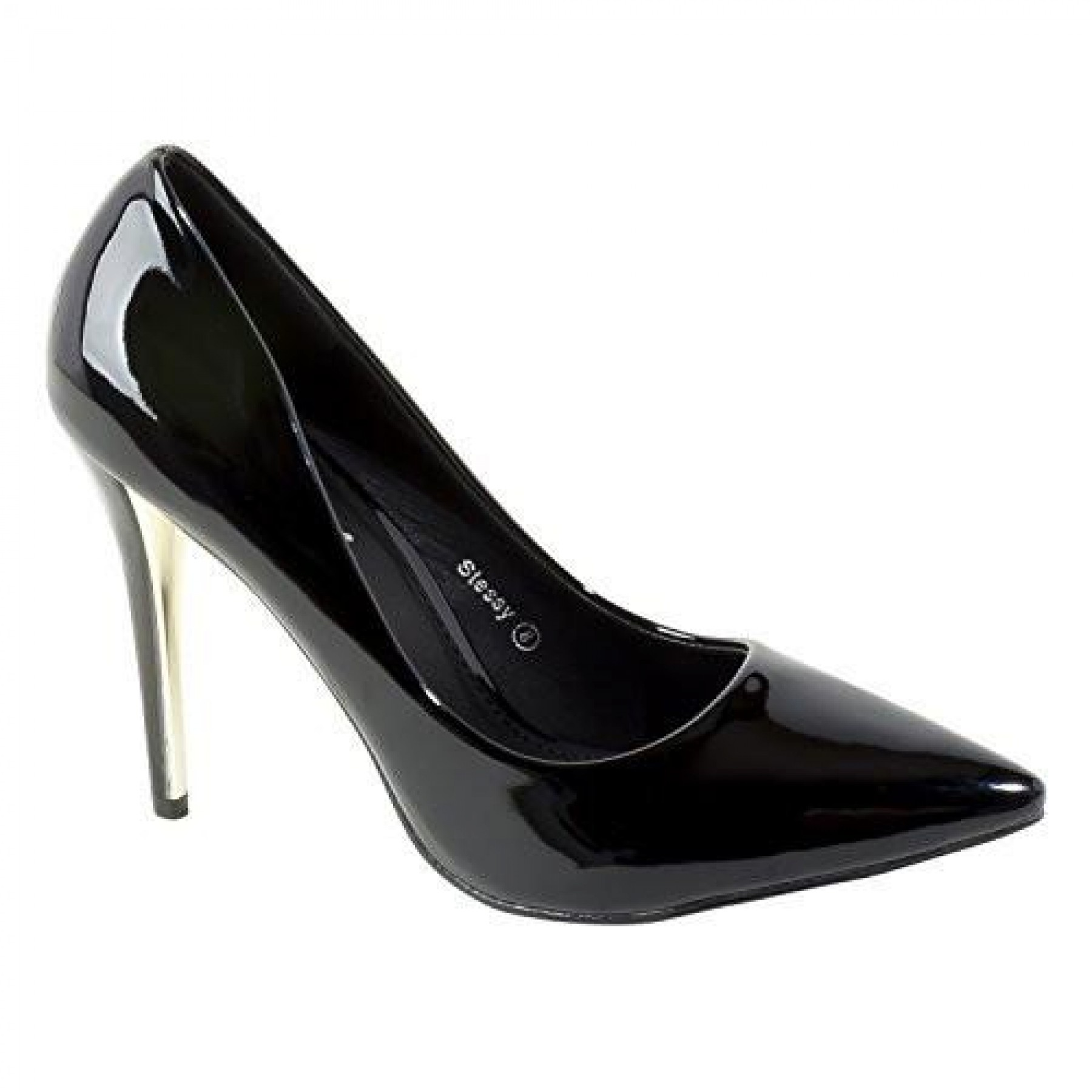 Women's Black Manmade Stessy 4-inch Pointed Pump with Glossy Sheen
