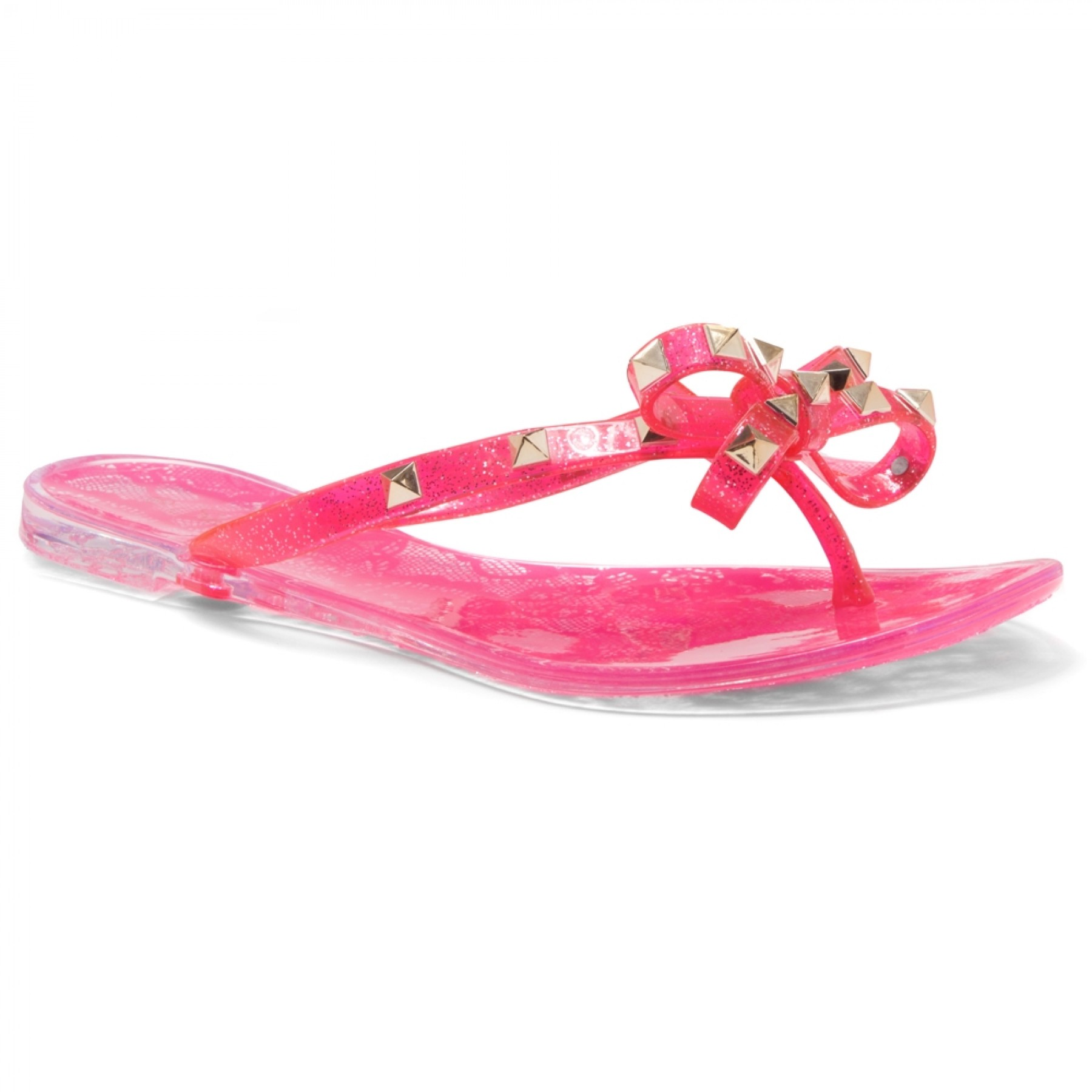 Shoe Land SUMMER-Women's Flip Flops Jelly Sandals With Studs Accents(1896/Pink)