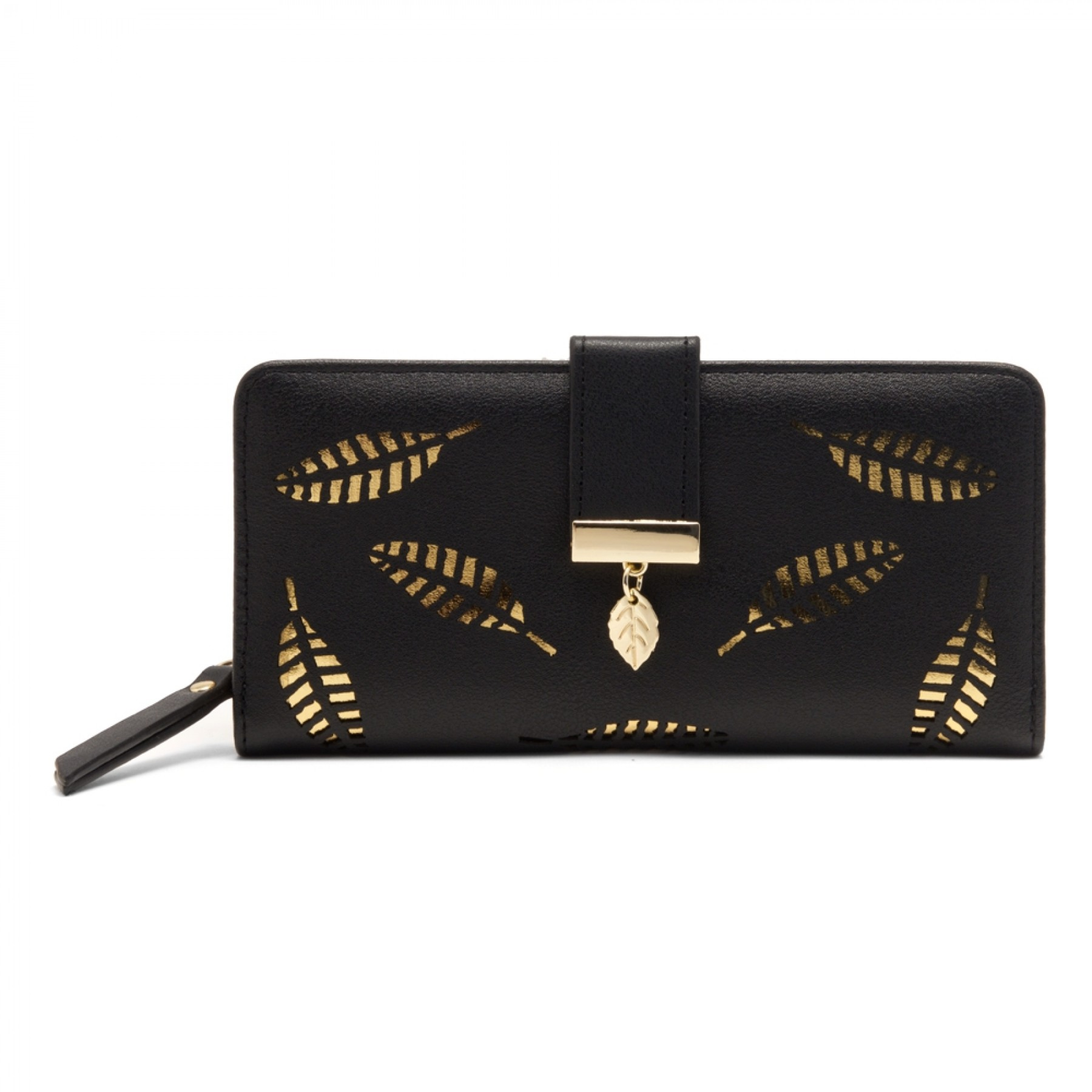 SZ17-LH1-15739 - Women's Wallet with Card slots and ID window Zipper Purse  (Black)