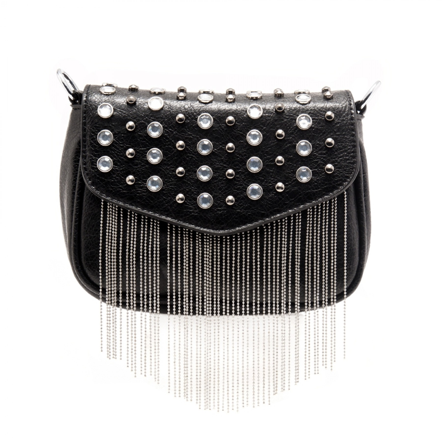 SZ17-LH2-16561 - Women's Crystal Rhinestone Tassels Crossbody Bag (Black)