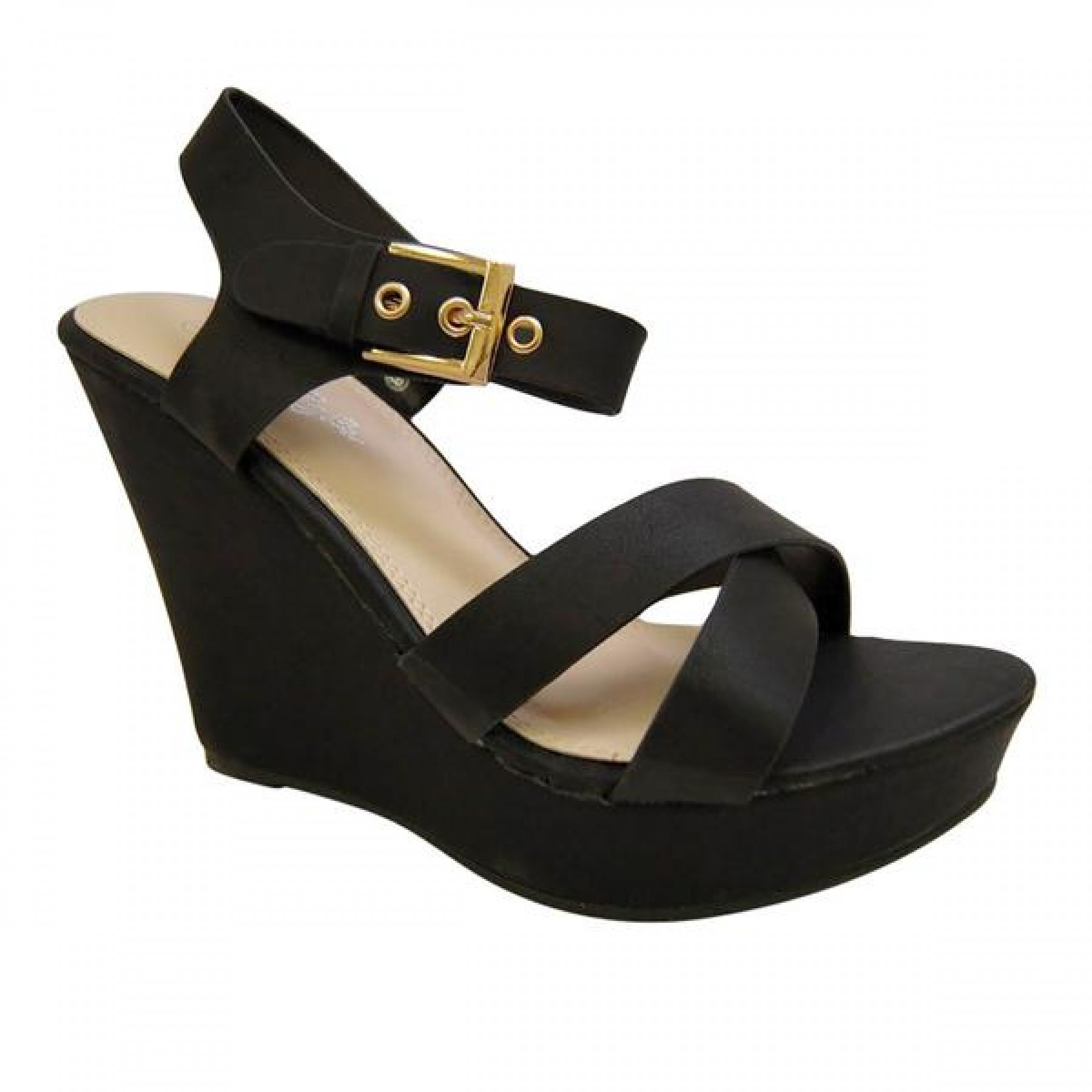Women's Black Manmade Szzura 4-inch Wedge Sandal with Boldly Brass Buckle