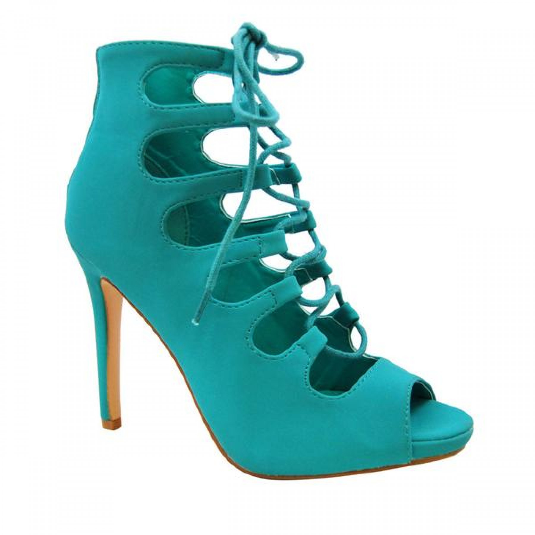 Women's Teal Manmade Wanelle 4-inch Peep Toe Heel with Lace-up Vamp