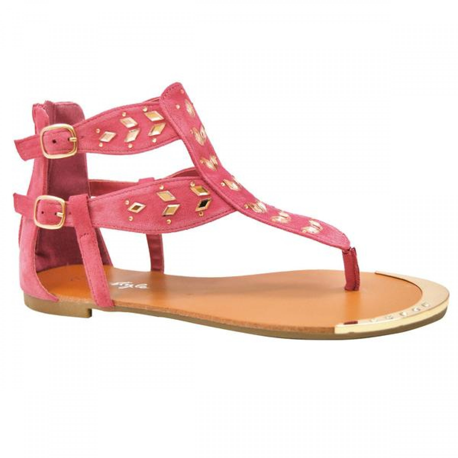 Women's Fuchsia Wyylee T-Strap Sandal with Shining Gold-Tone Accents