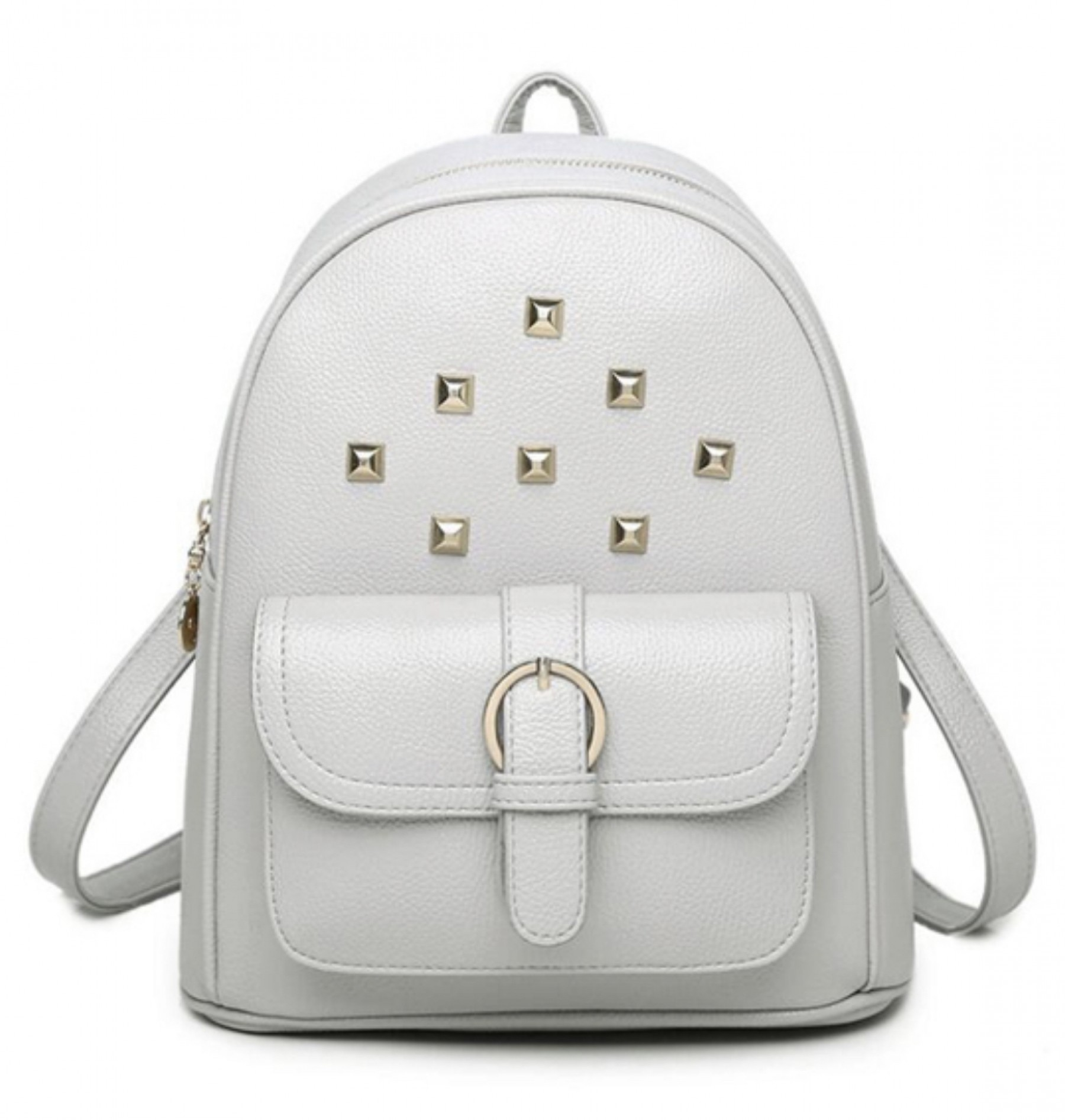 SE3-BP083- Women's Trendy Mini Studded Backpack Purse (Grey)