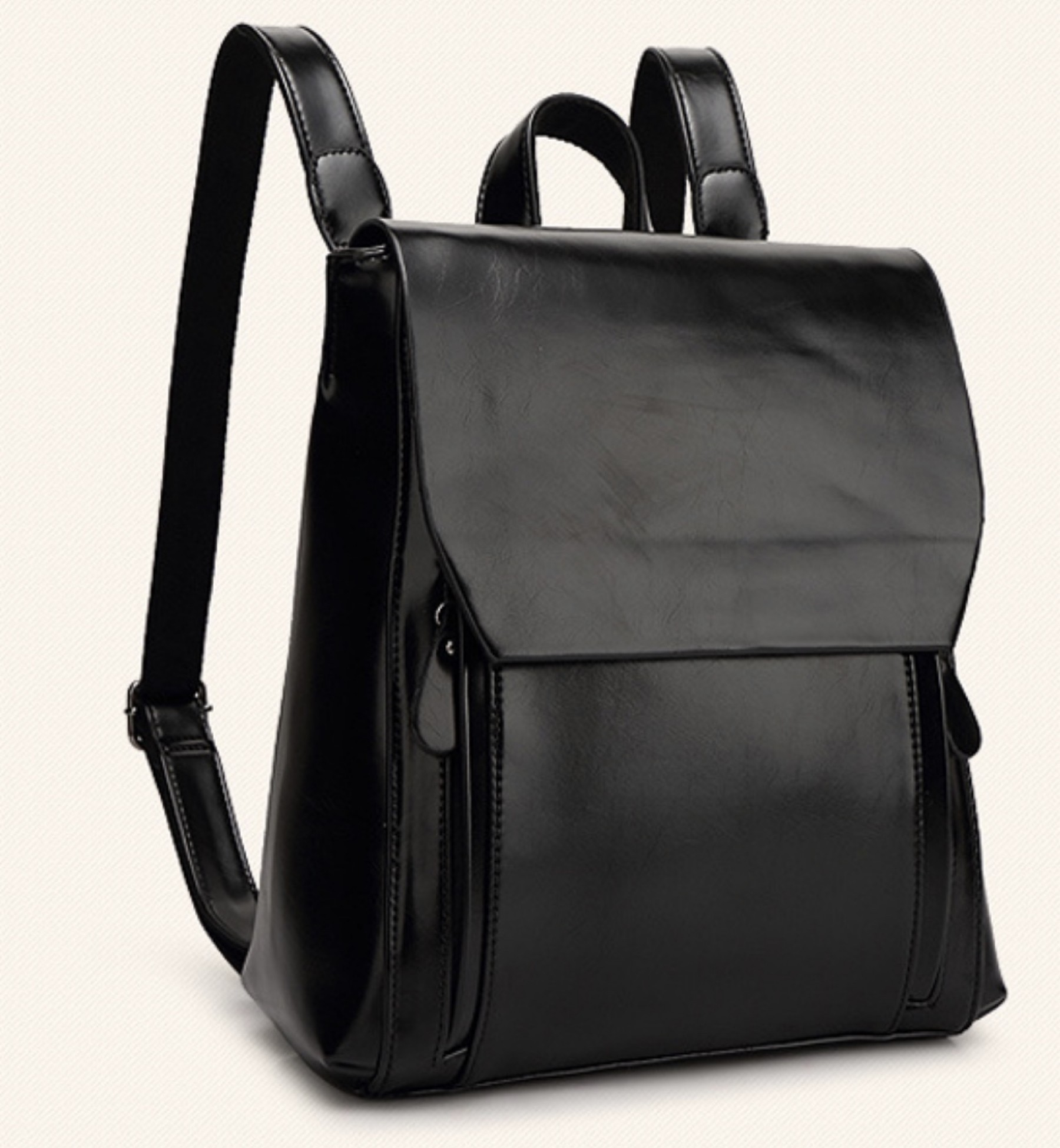 SZ9-16017- Women's Modern Style Classic Leather Backpack (Black)