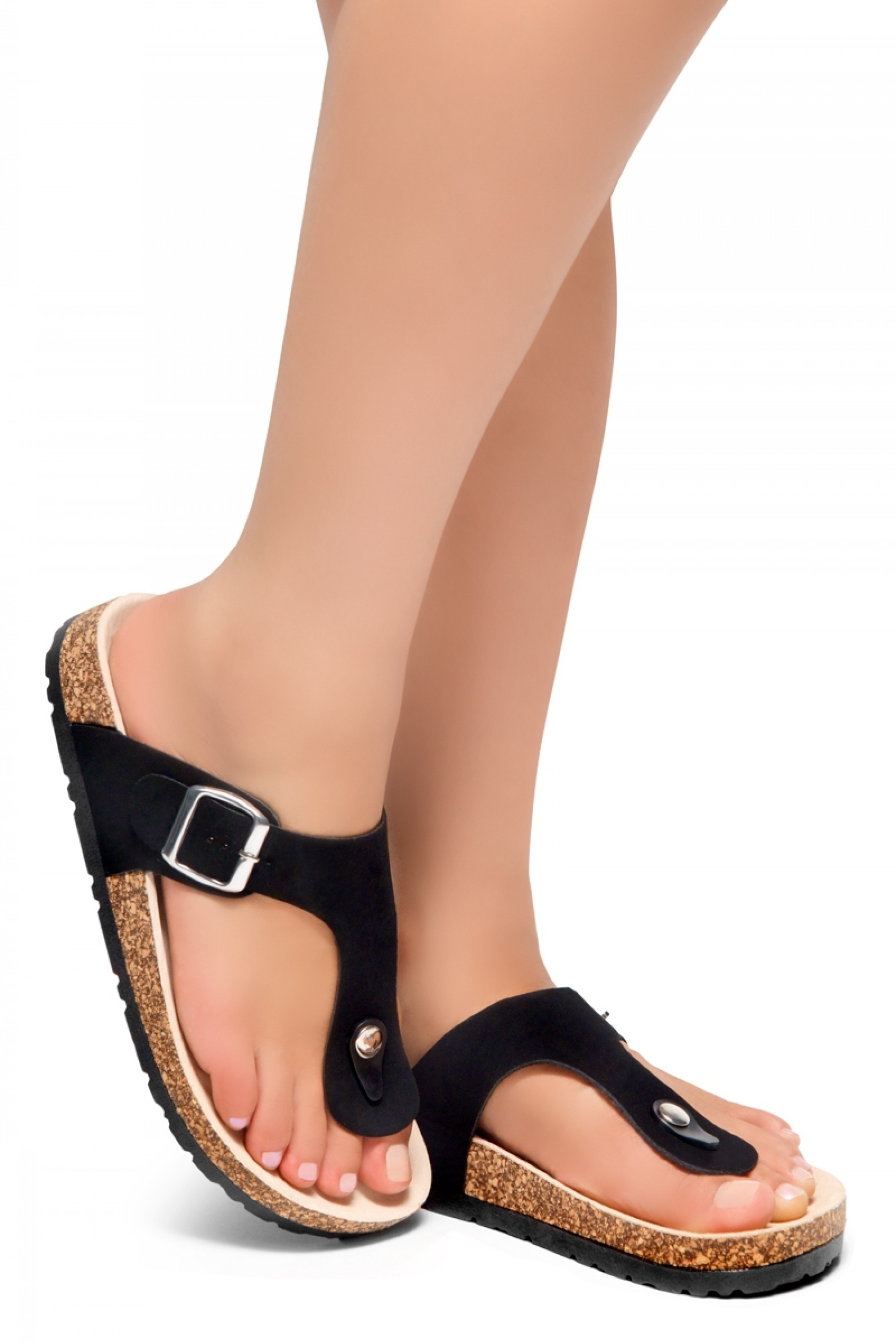 HerStyle SOFTEY-Open Toe Buckled Cork Slide Sandal(1896 BlackNU)