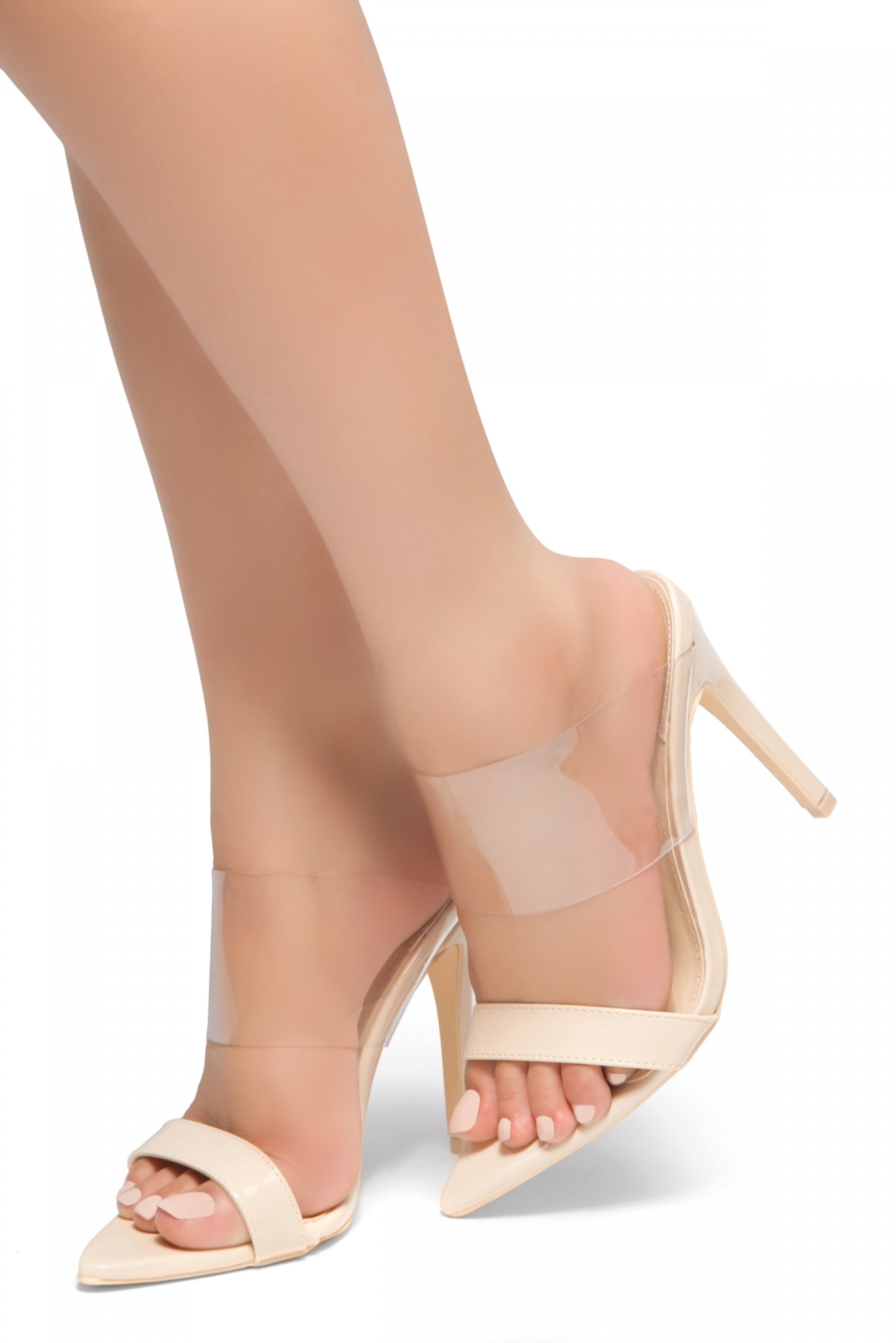 HerStyle Ilka - Pointed Toe Open Back Stiletto Heel, Perspex Vamp slipper (Nude)