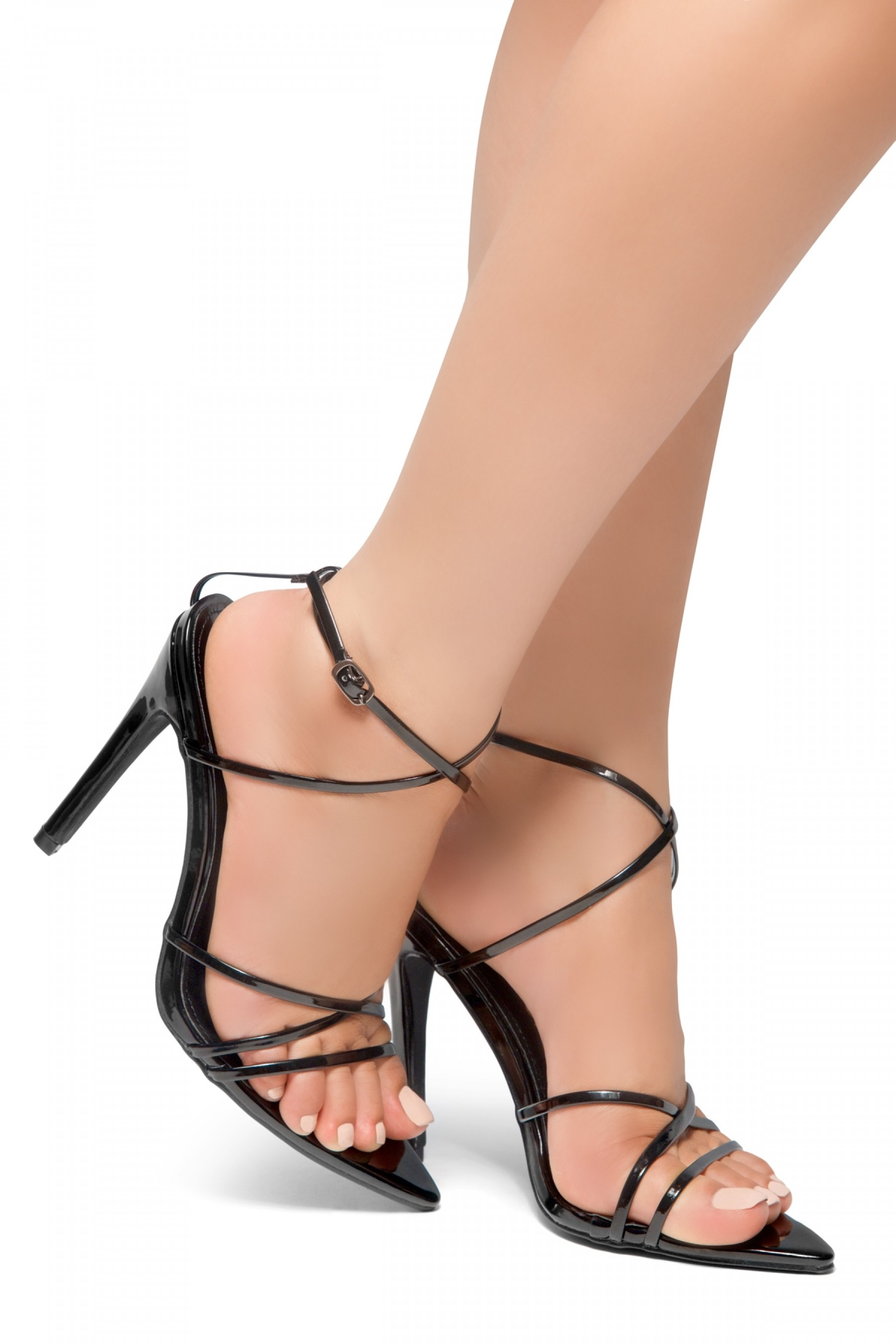 HerStyle Twist-Pointed Toe Straps Vamp Straps across Ankle Stiletto Heel Sandal (Black)