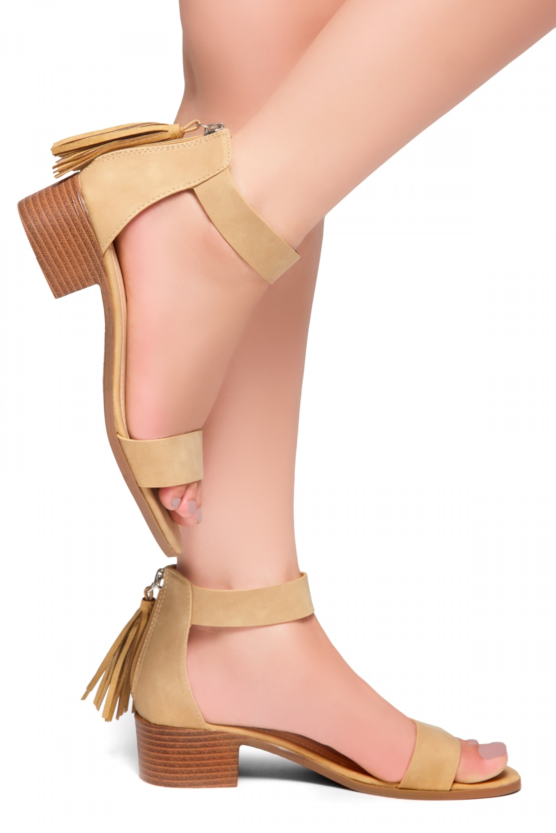 HerStyle Bruefly- Low Block Heel Back Zipper with Tassels Sandal (Tan)