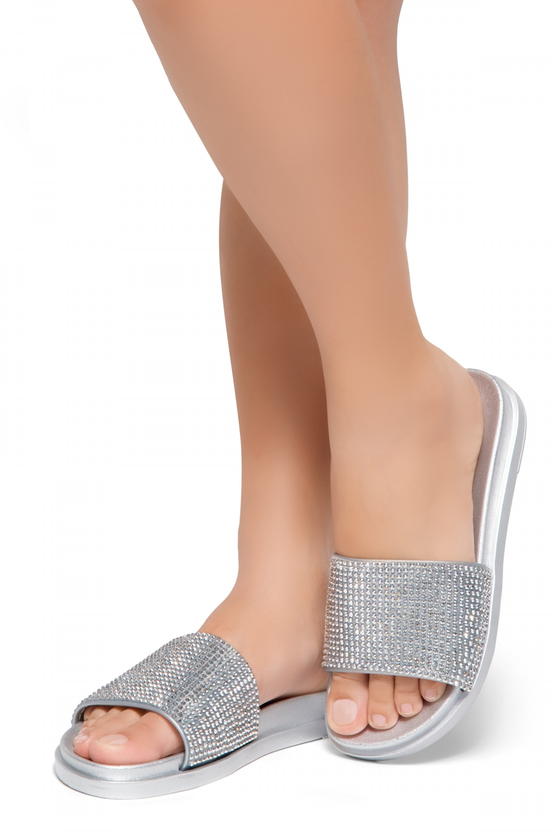 HerStyle Heated-Open Toe Jewelled Embellishment Slide Sandal (Silver)