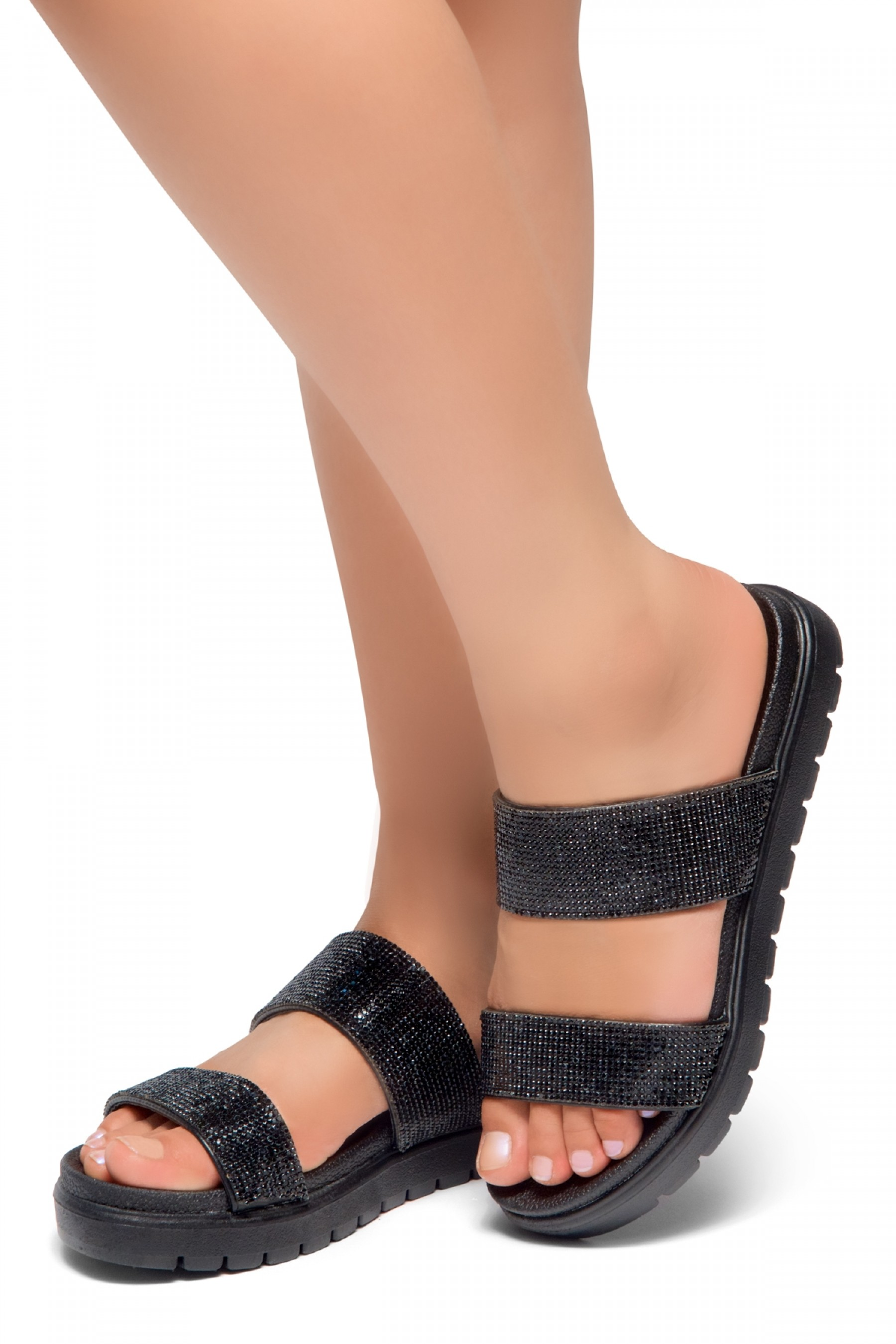 HerStyle Knock-Open Toe Jewelled Embellishment Slide Sandal (Black)