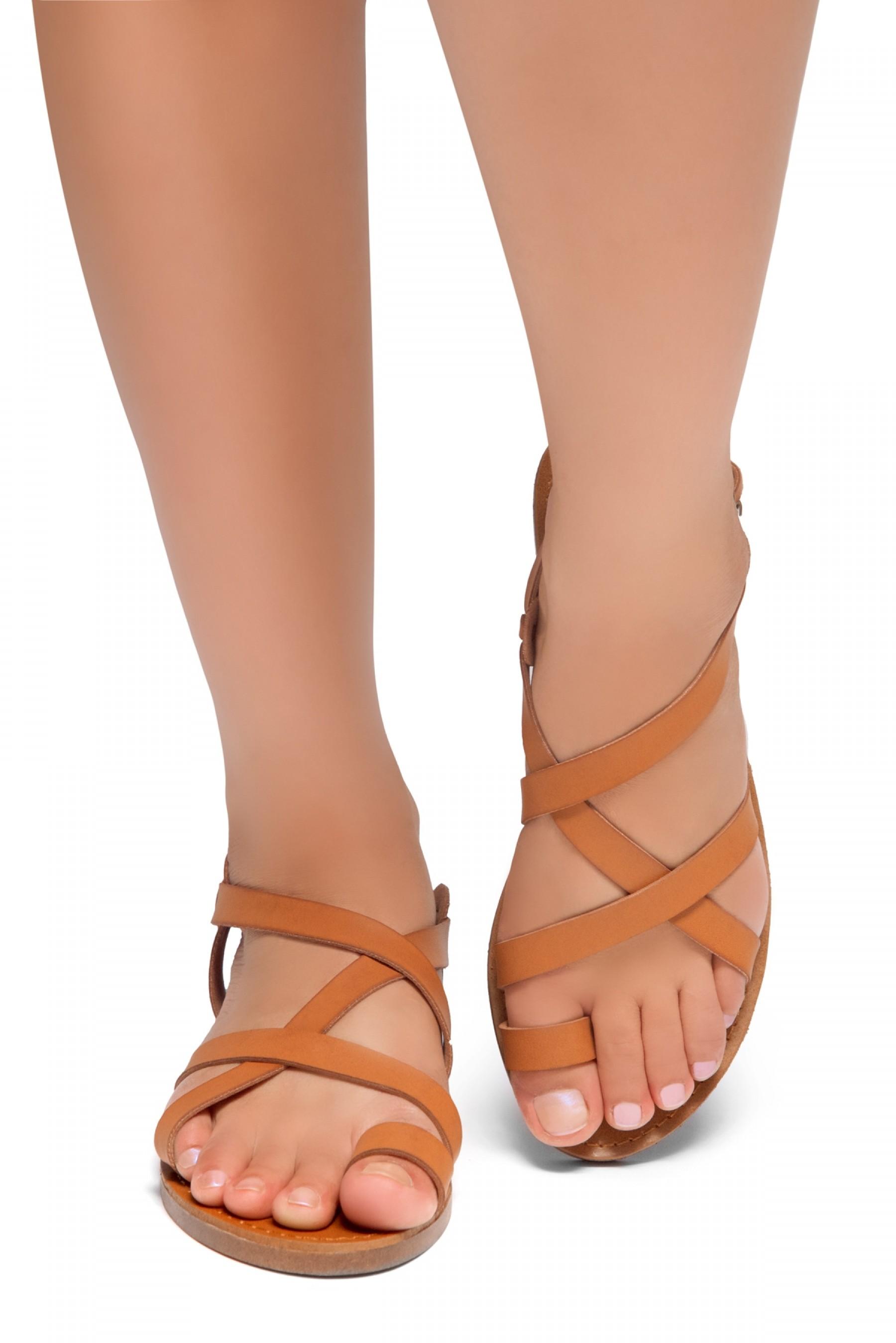 HerStyle Lulla-Toe Ring Sandal with Unique Crisscross Straps (Cognac)