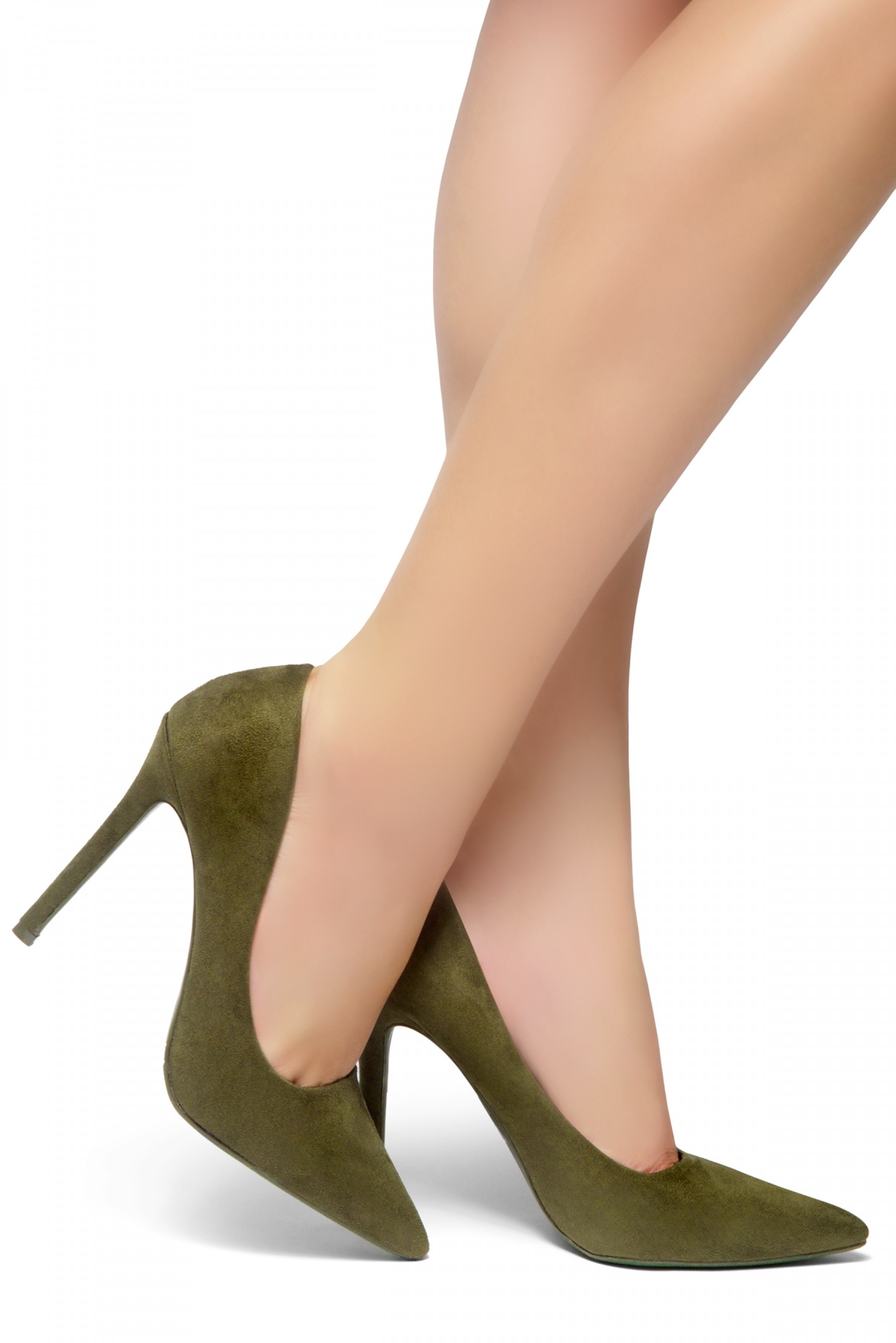 HerStyle Marneena-Women's Manmade 4-inch Sueded Heel with Lightly Pointed Toe (Olive)