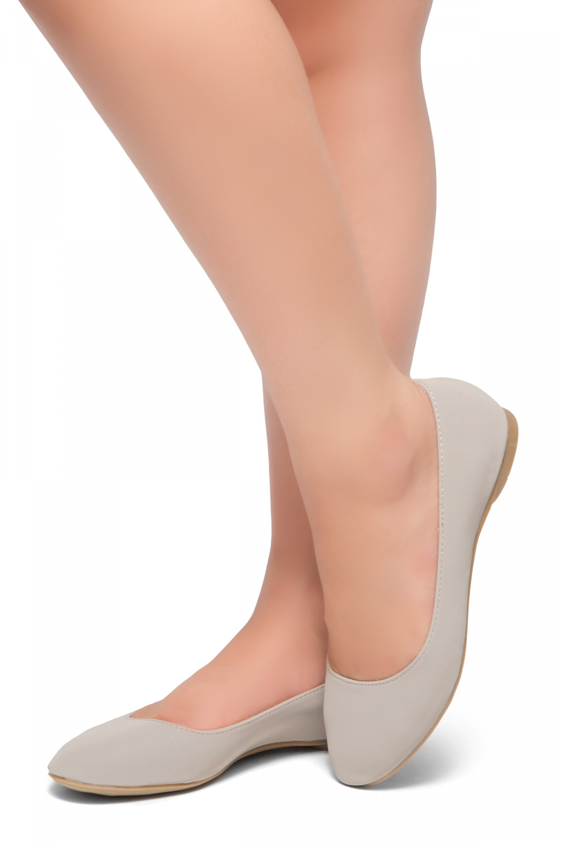 HerStyle Memory Forever -Round Toe, No detail, Ballet Flat (Grey)