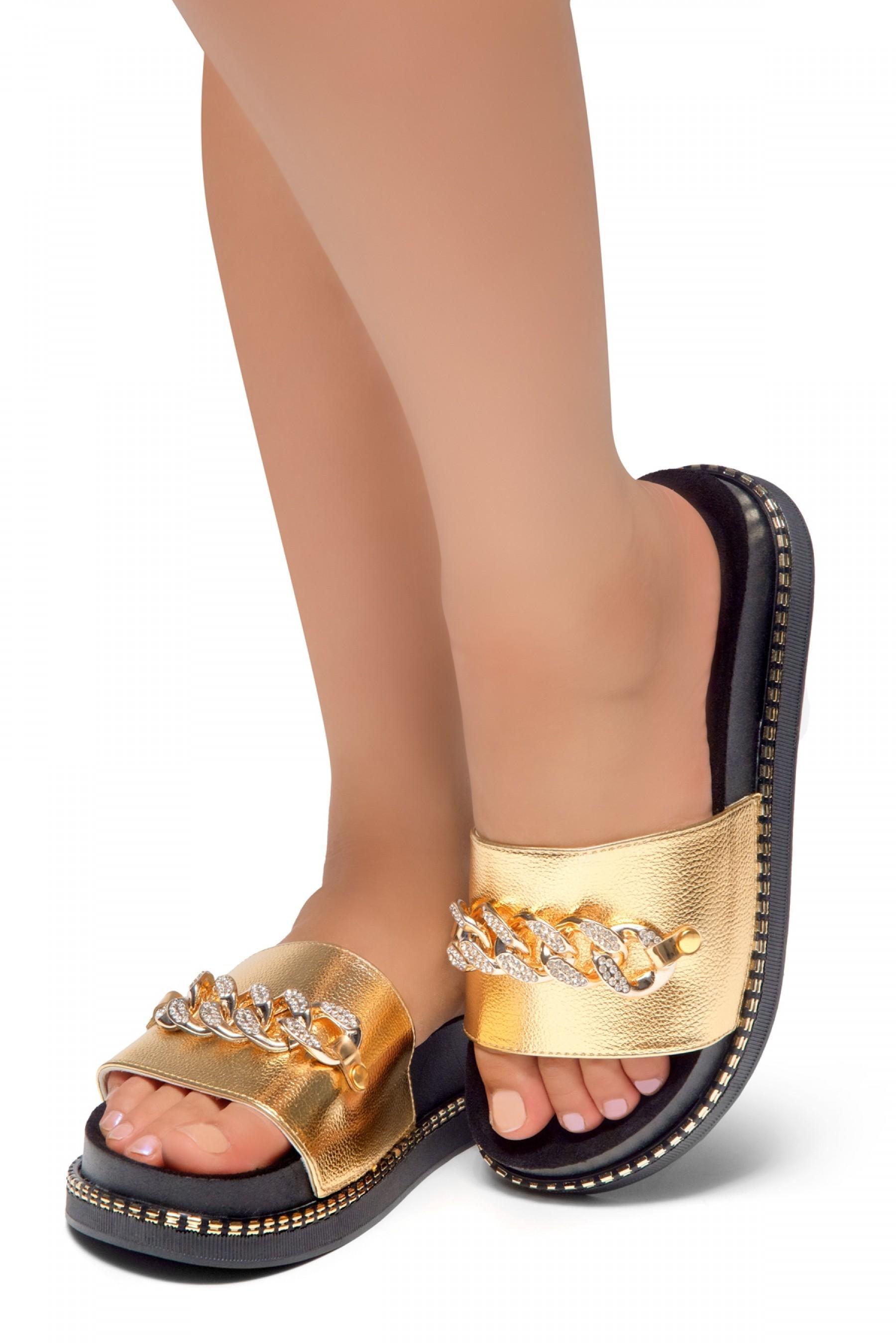 66f2cbeb5f18 HerStyle ORA-Open Toe Slide Sandal with Rhinestone Metallic Chain ...